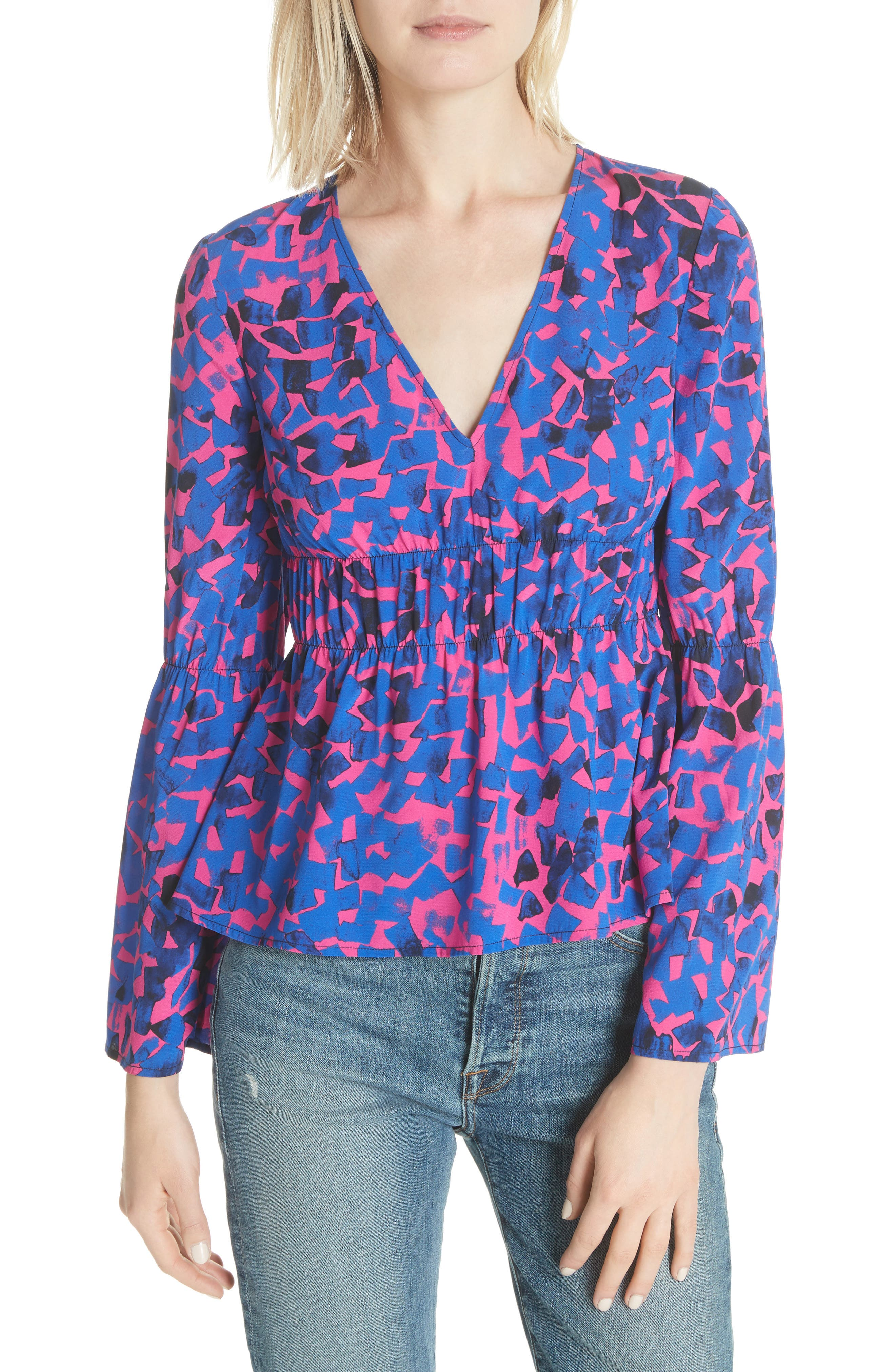 Ruched Stretch Silk Blouse,                             Main thumbnail 1, color,                             Cobalt Confetti