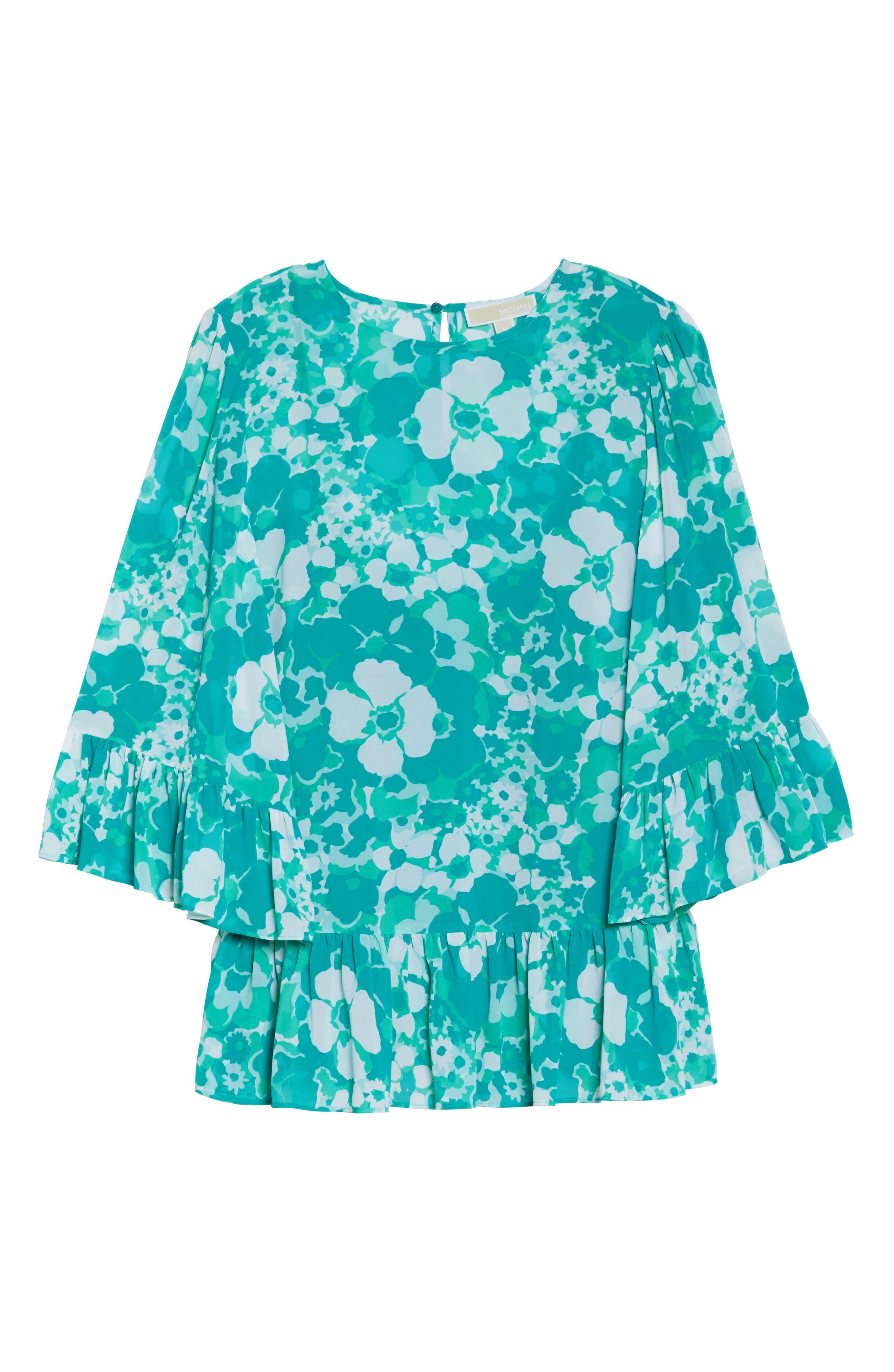 Alternate Image 6  - MICHAEL Michael Kors Springtime Floral Ruffle Top (Plus Size)