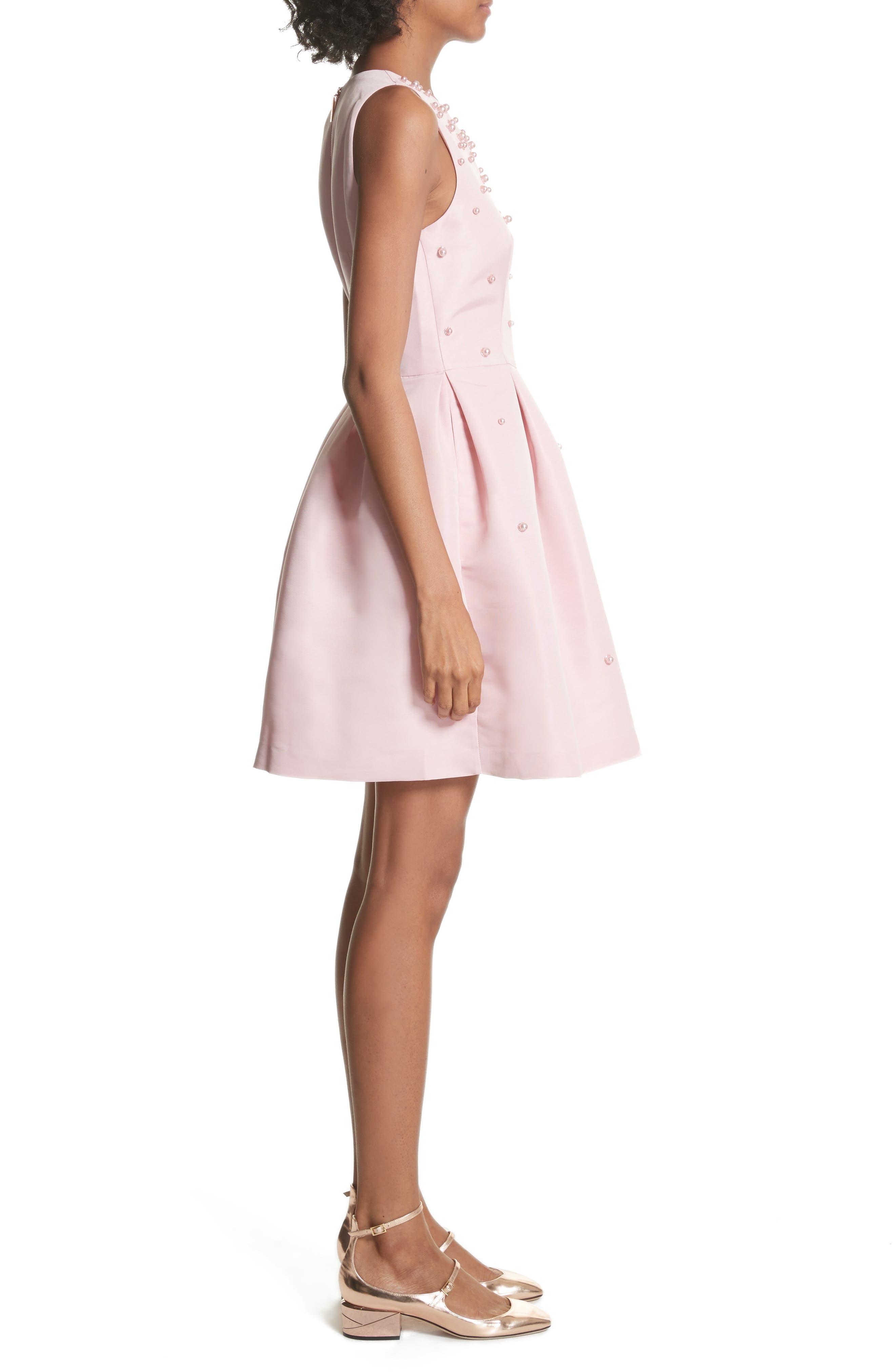 Embellished Skater Dress,                             Alternate thumbnail 3, color,                             Baby Pink