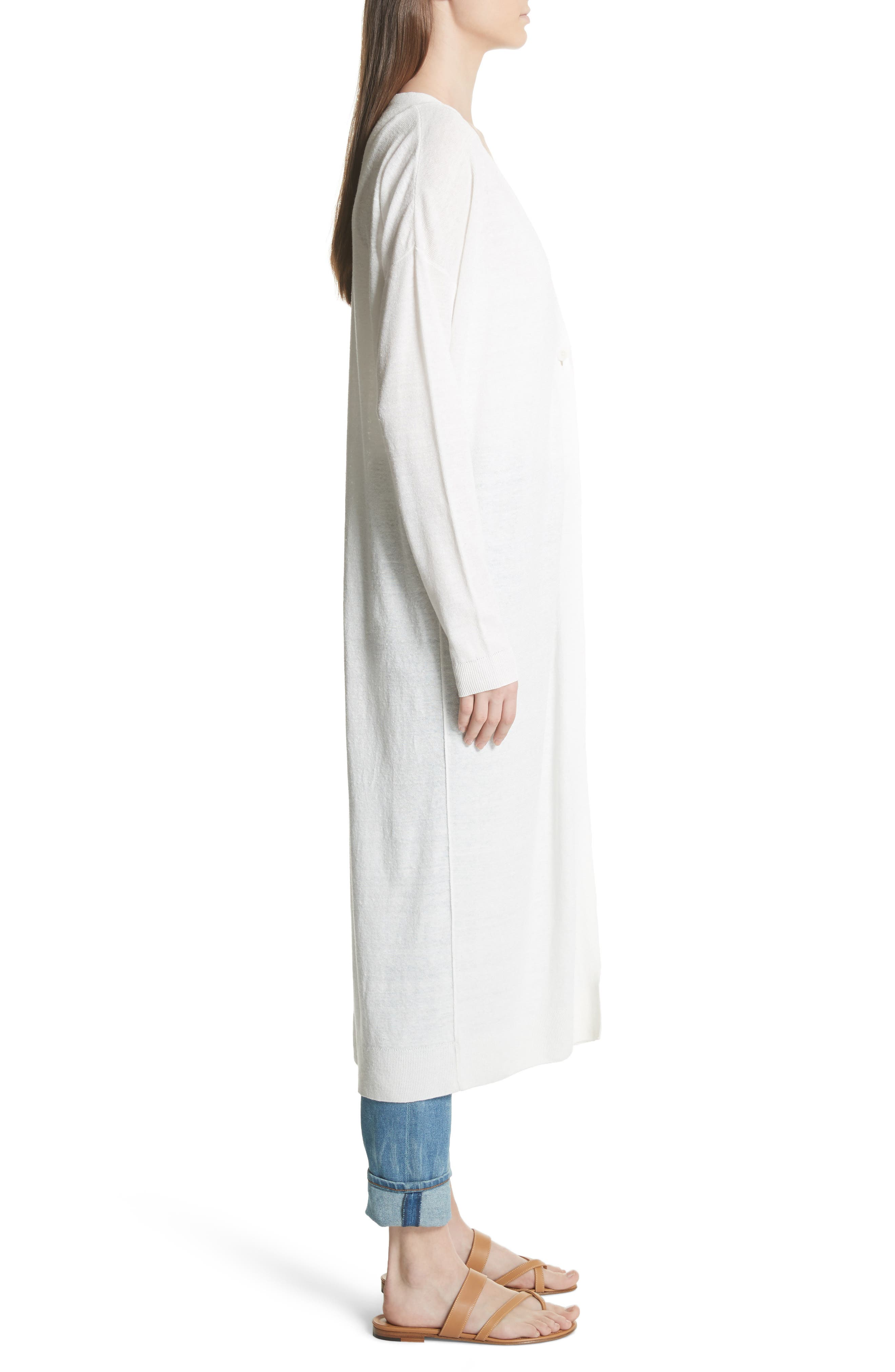 New Harbor Linen Blend Maxi Cardigan,                             Alternate thumbnail 3, color,                             Ivory