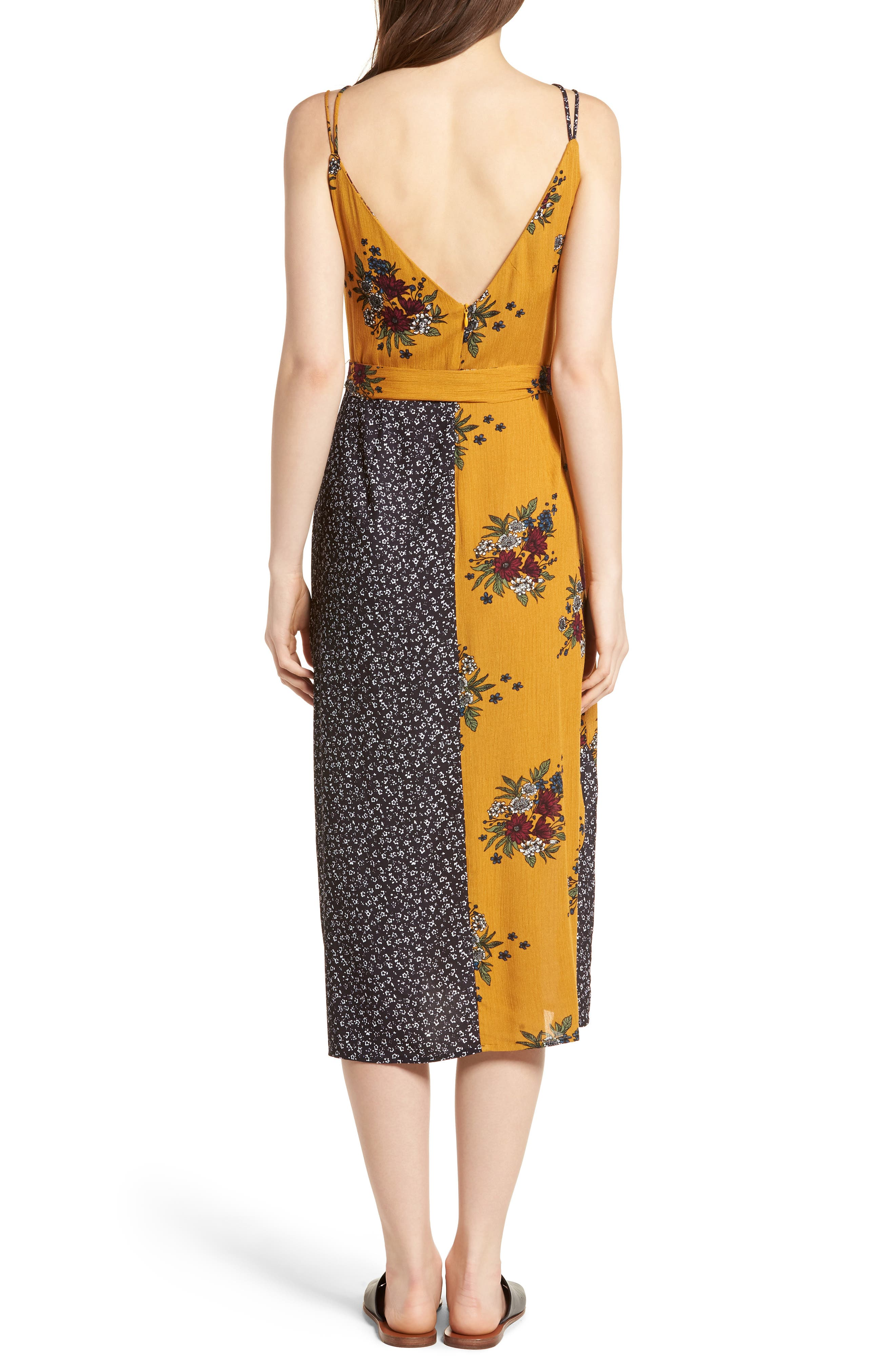 See Me Print Midi Dress,                             Alternate thumbnail 2, color,                             Honey