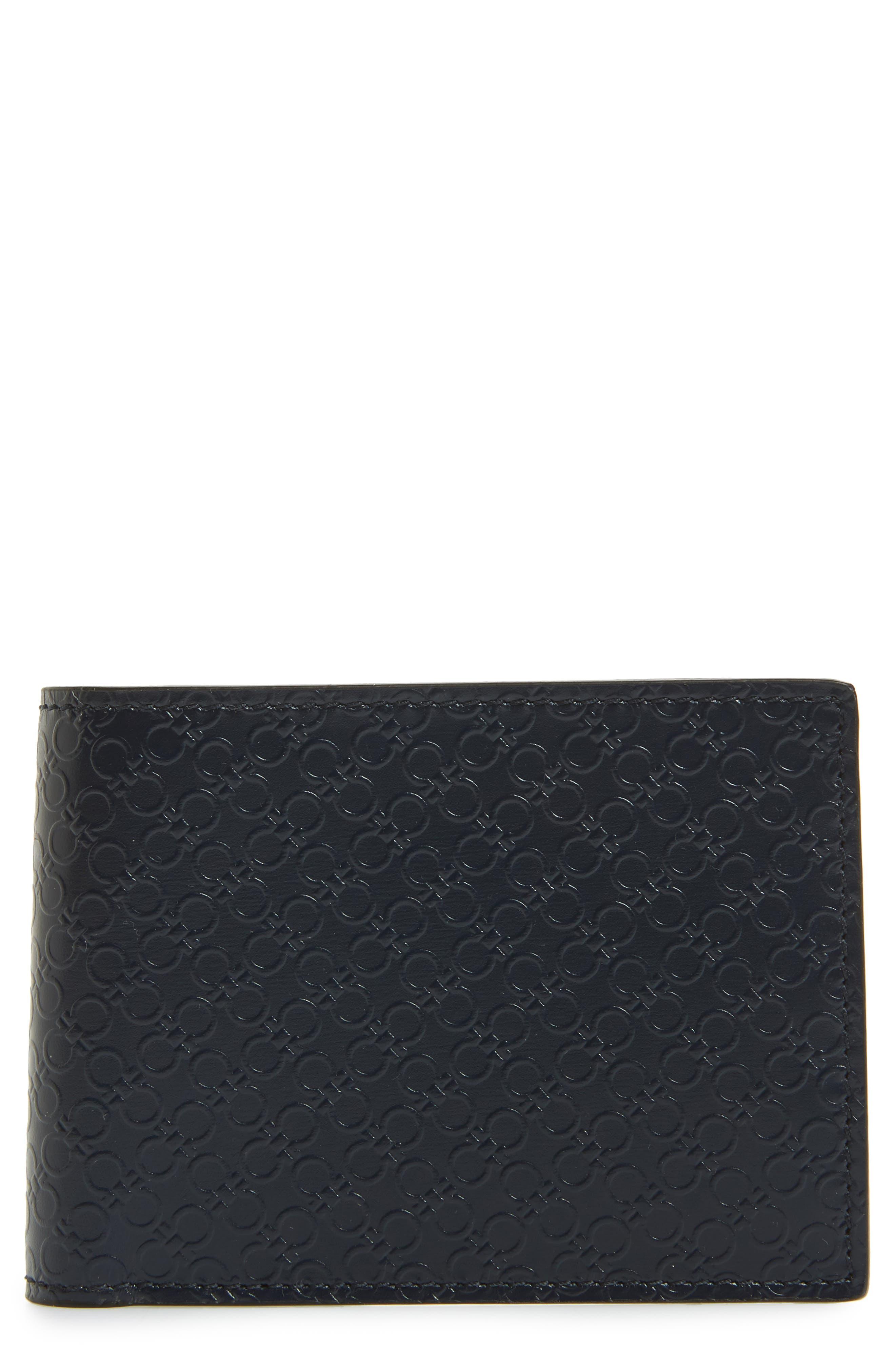 Gancini Leather Card Case,                             Main thumbnail 1, color,                             Blue Marine