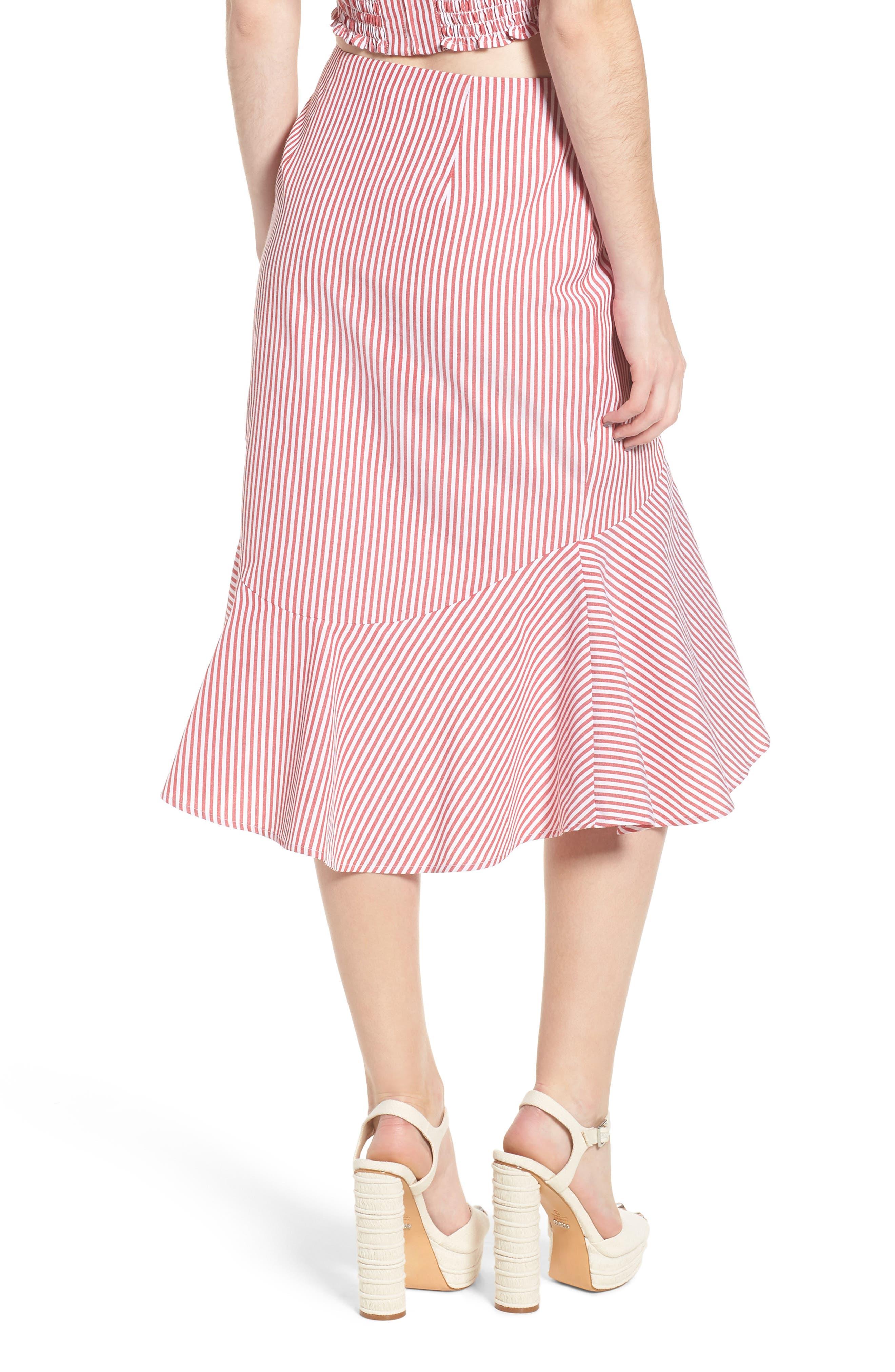 Naples Ruffle Skirt,                             Alternate thumbnail 2, color,                             Red Stripe