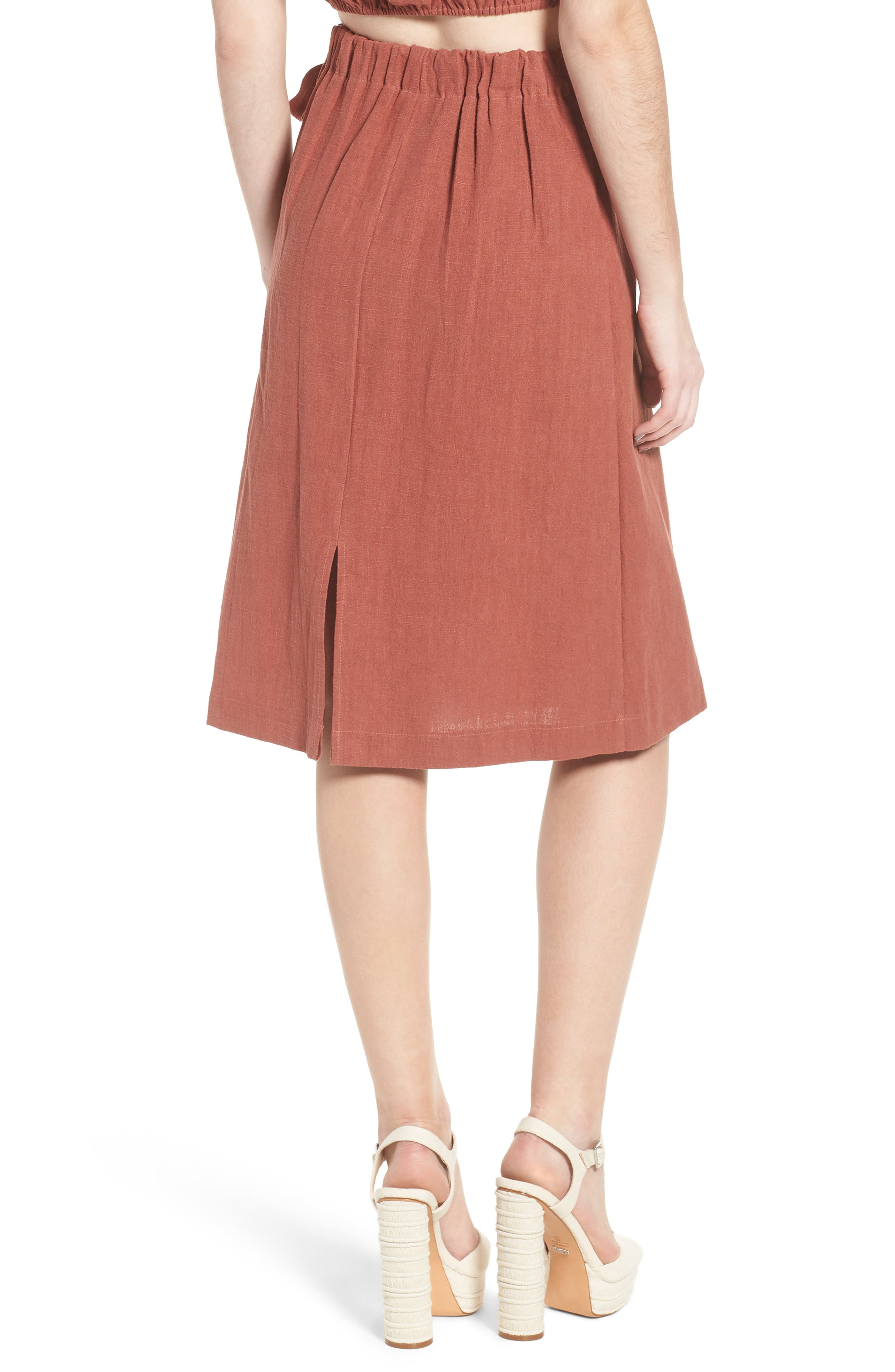 Wrap A-Line Skirt,                             Alternate thumbnail 3, color,                             Rust