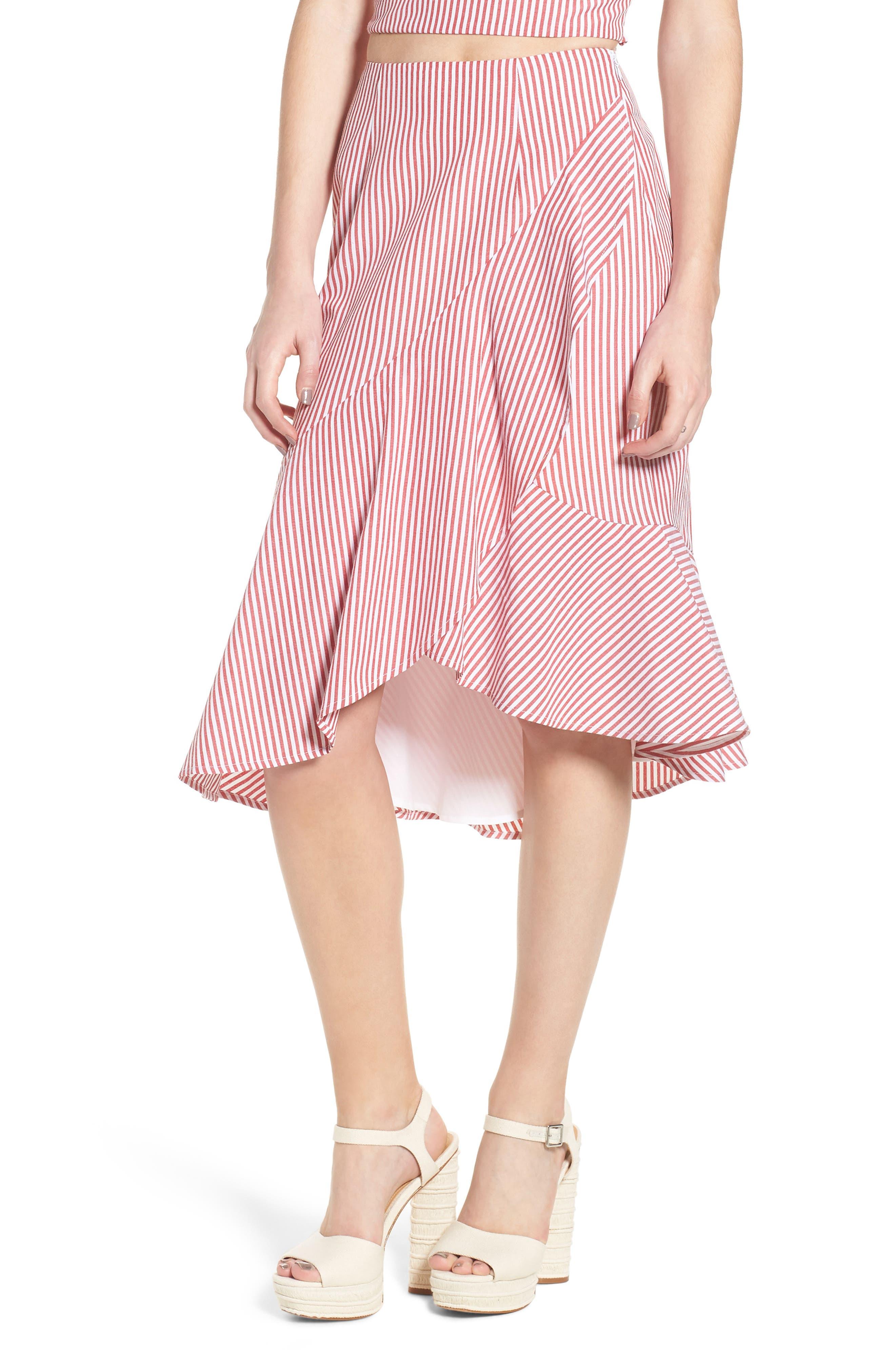 Naples Ruffle Skirt,                             Main thumbnail 1, color,                             Red Stripe