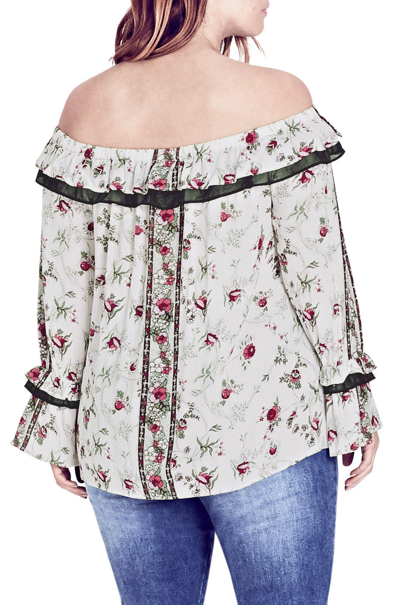 Love Story Floral Off the Shoulder Top,                             Alternate thumbnail 2, color,                             Love Story