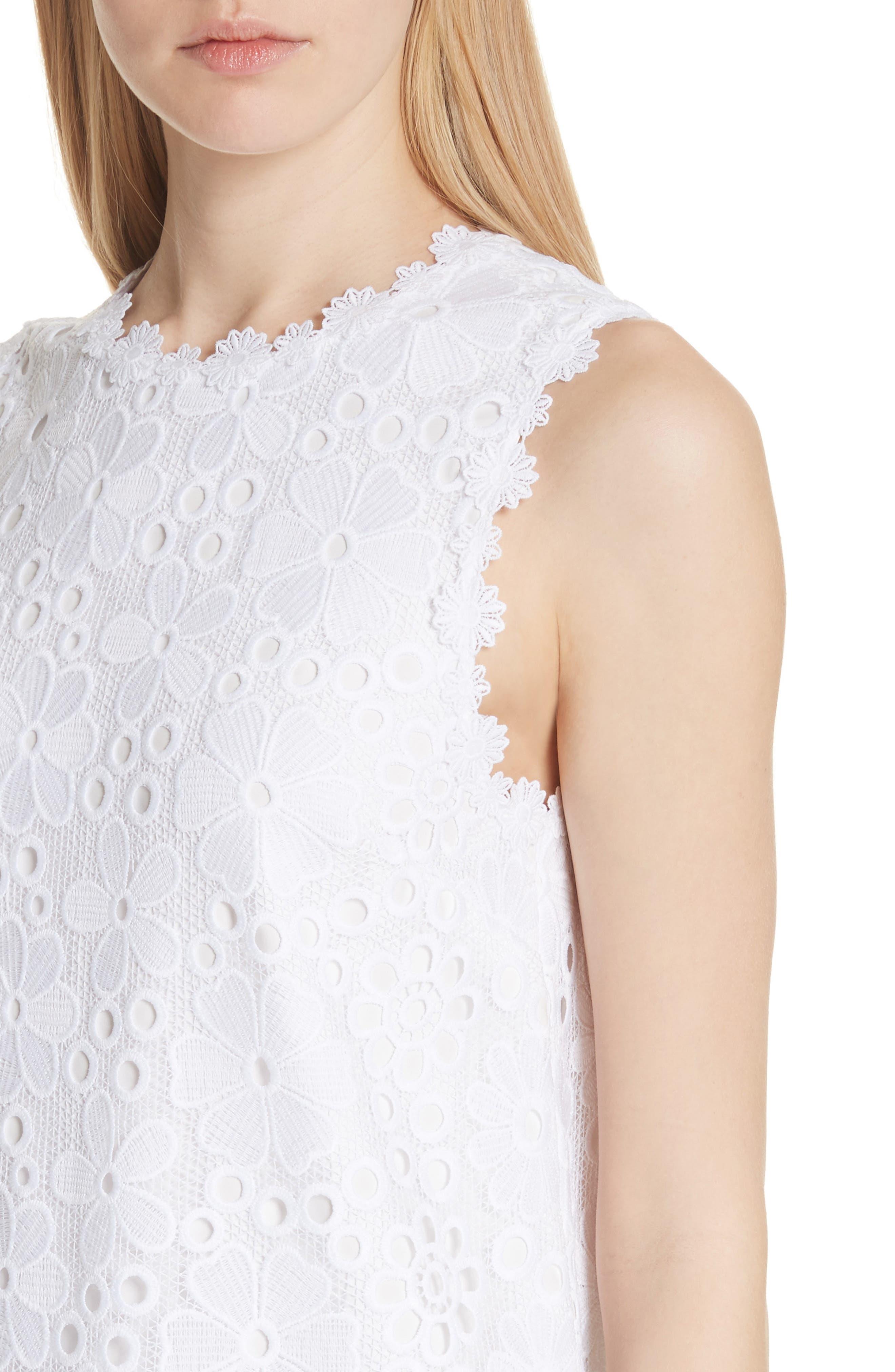 lace shift dress,                             Alternate thumbnail 4, color,                             Fresh White