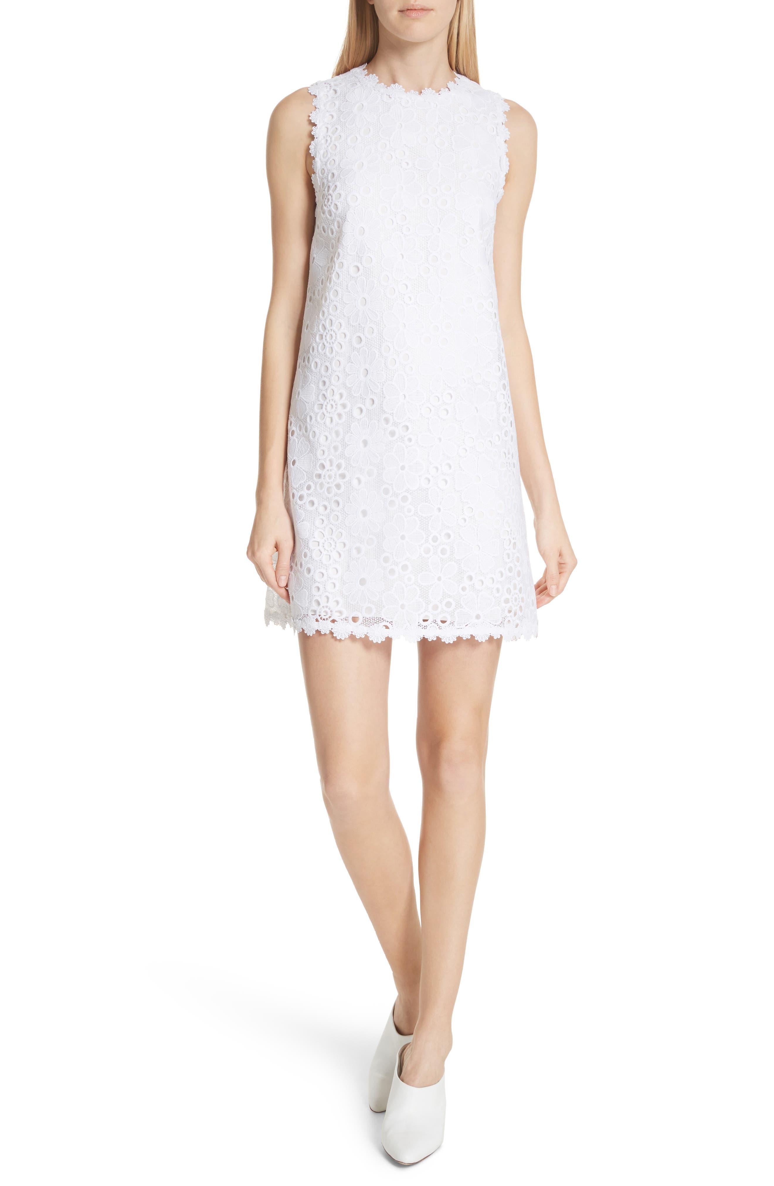 lace shift dress,                         Main,                         color, Fresh White