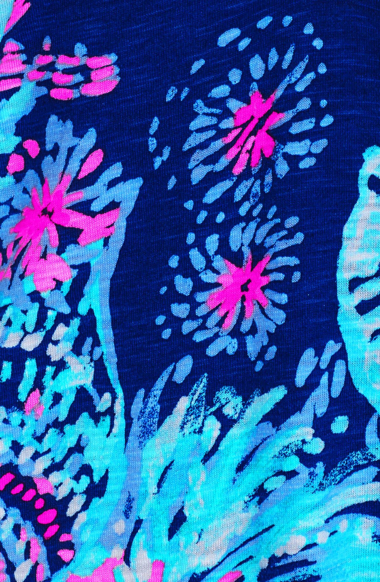 Joy Floral Print Shift Dress,                             Alternate thumbnail 4, color,                             Deep Indigo Gypsea Girl