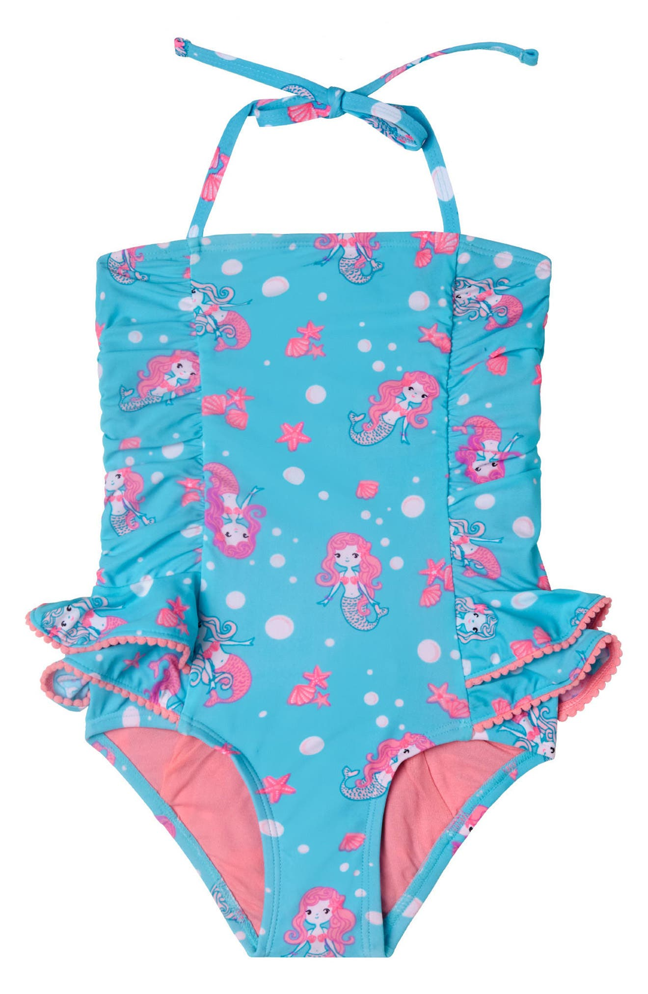 Mermaid Crush One-Piece Swimsuit,                             Main thumbnail 1, color,                             Aqua