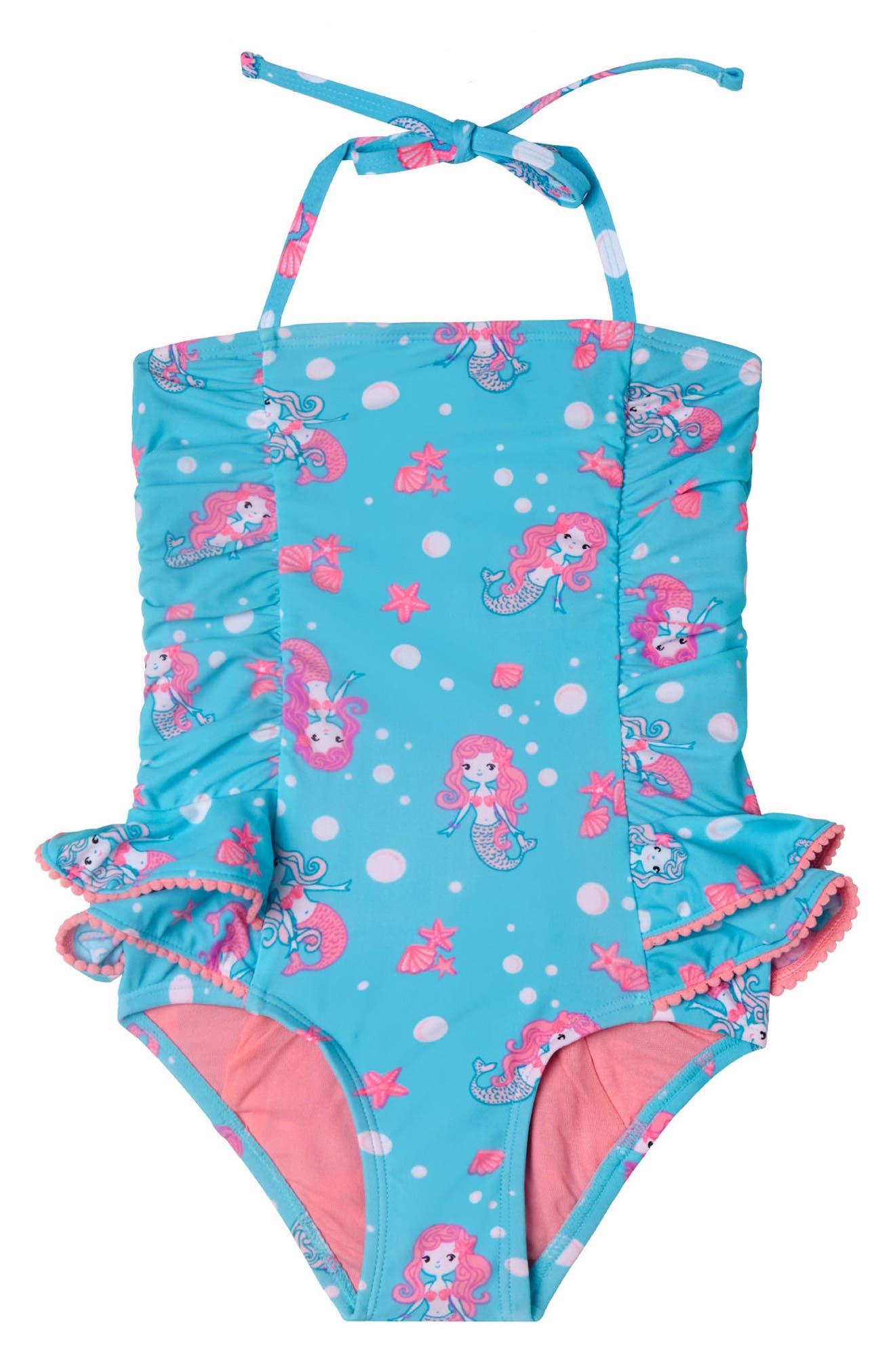 Mermaid Crush One-Piece Swimsuit,                         Main,                         color, Aqua
