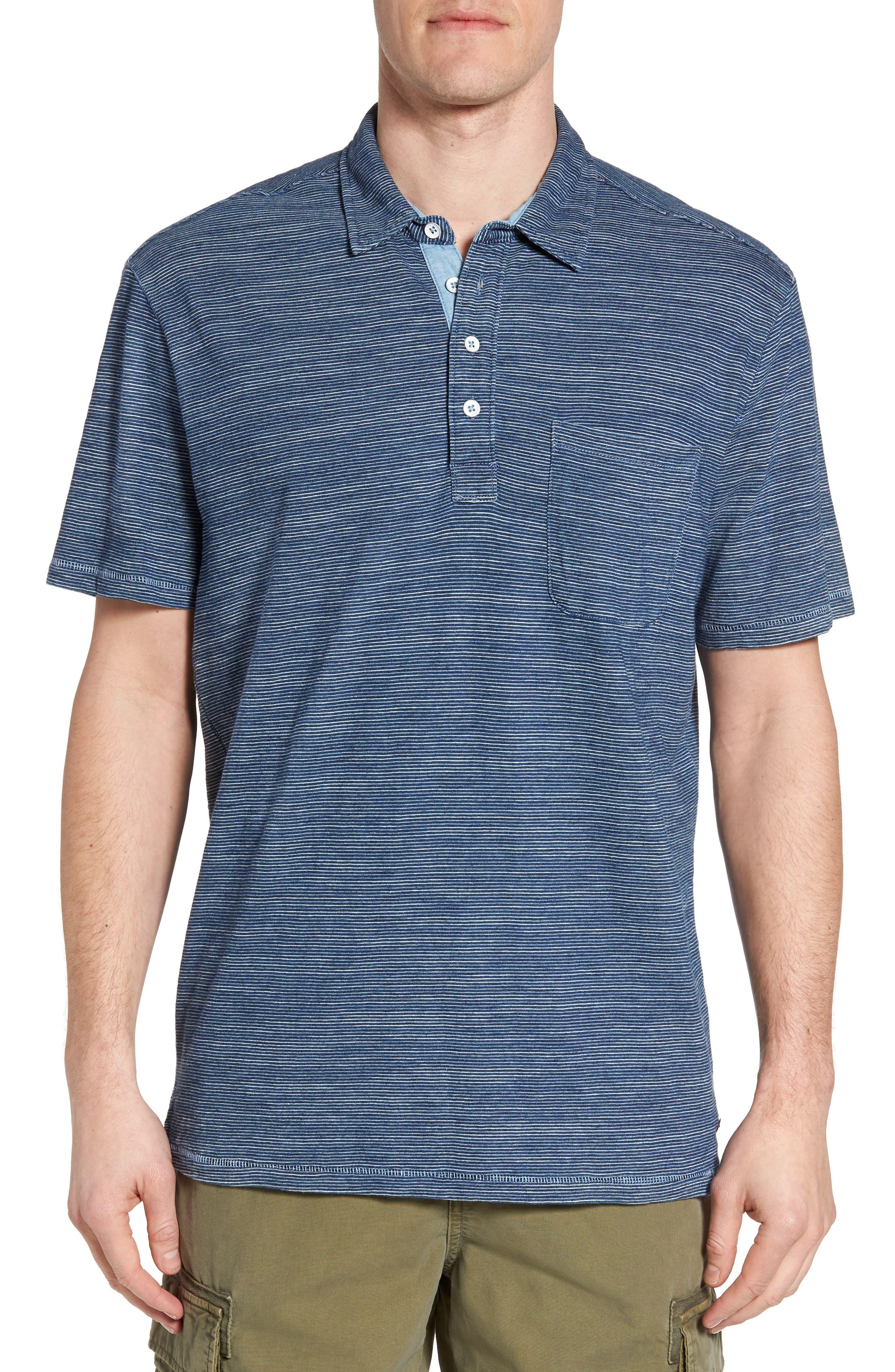 Indigo Stripe Jersey Polo,                         Main,                         color, Indigo