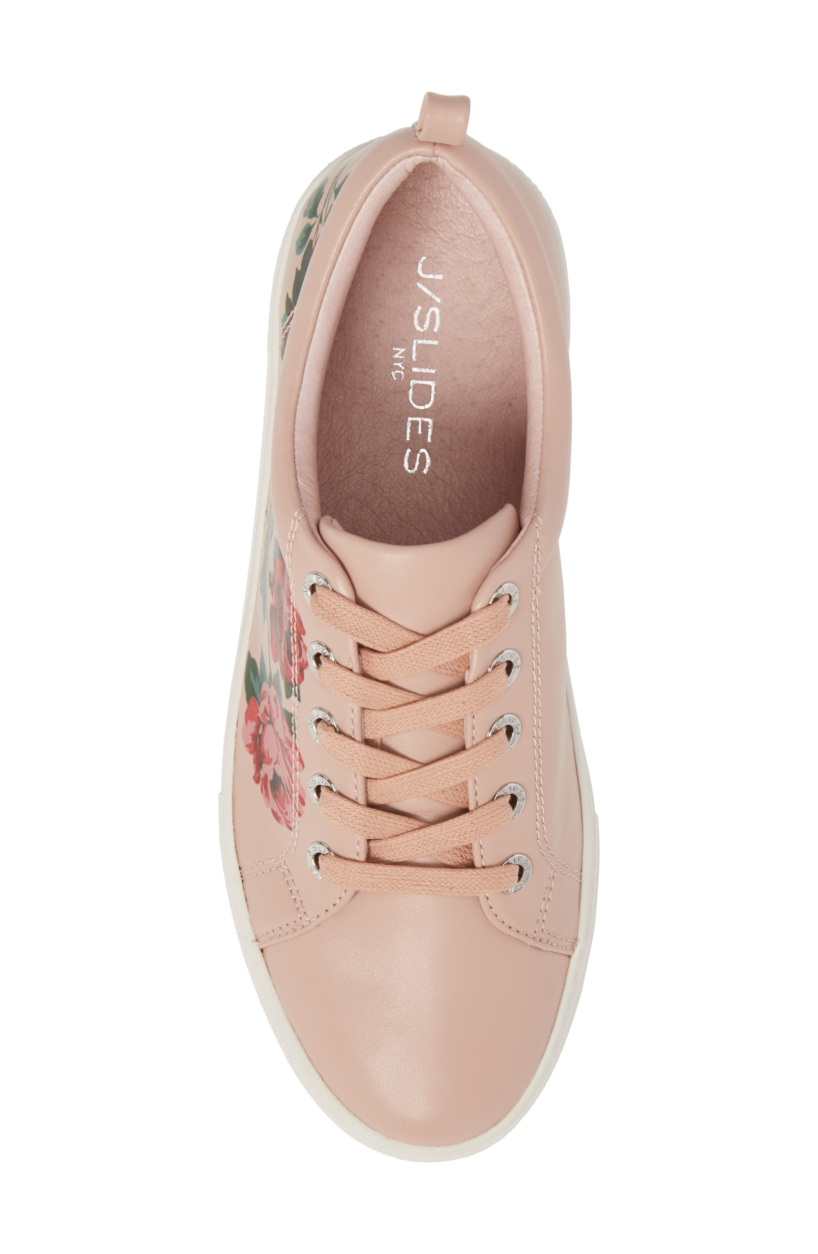Adel Floral Sneaker,                             Alternate thumbnail 5, color,                             Pink Leather