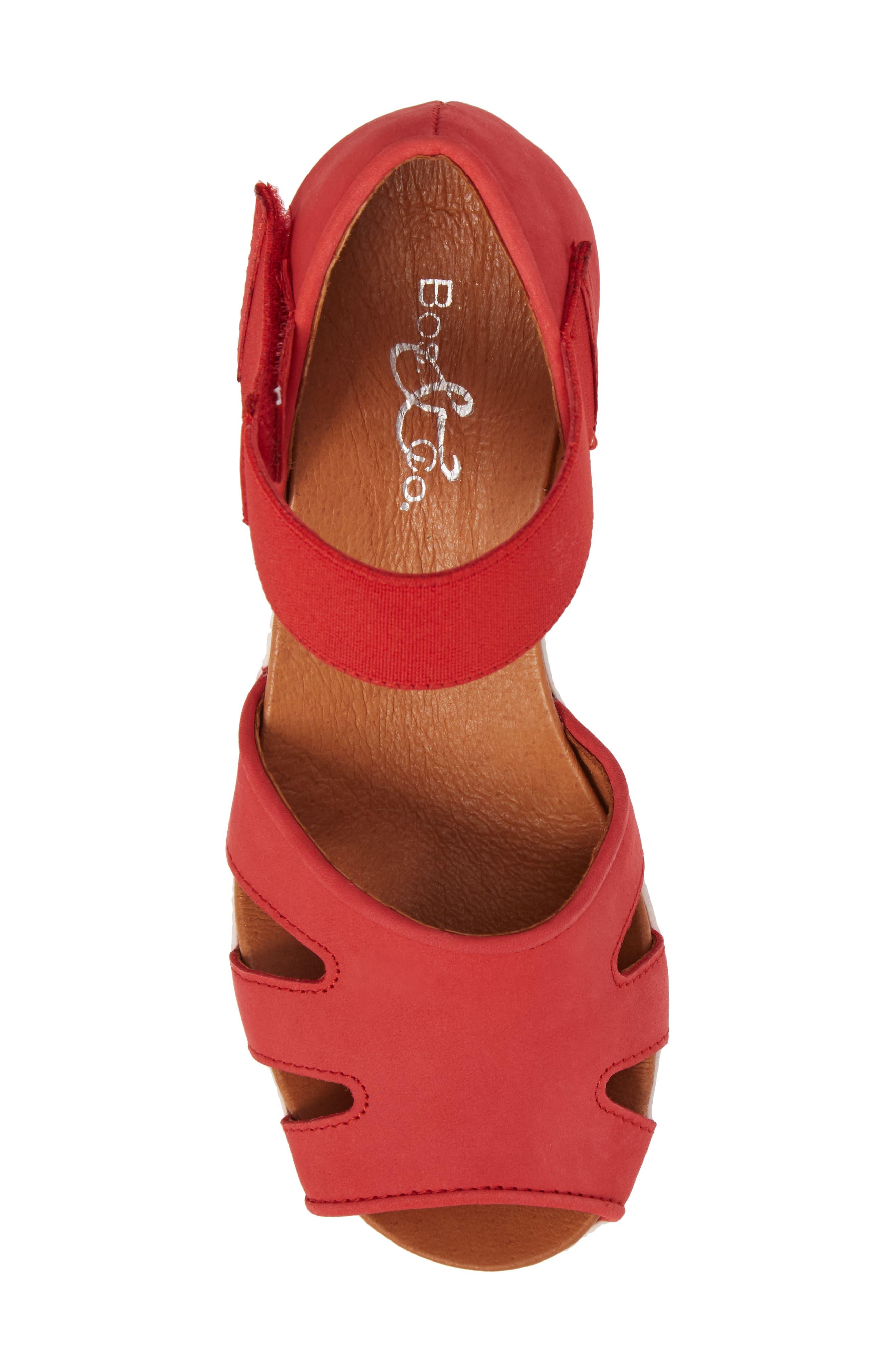 Sharon Platform Wedge Sandal,                             Alternate thumbnail 5, color,                             Red Nubuck Leather