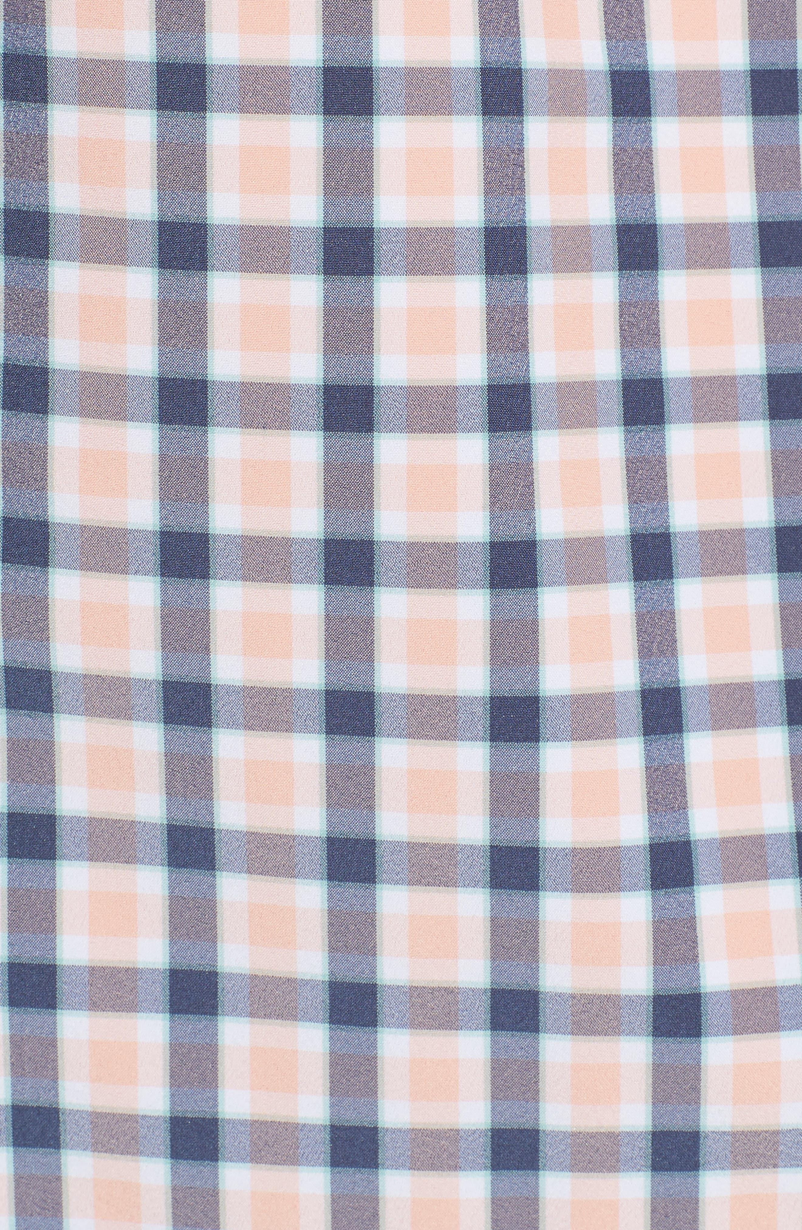 Brooks Check Performance Sport Shirt,                             Alternate thumbnail 5, color,                             Pink