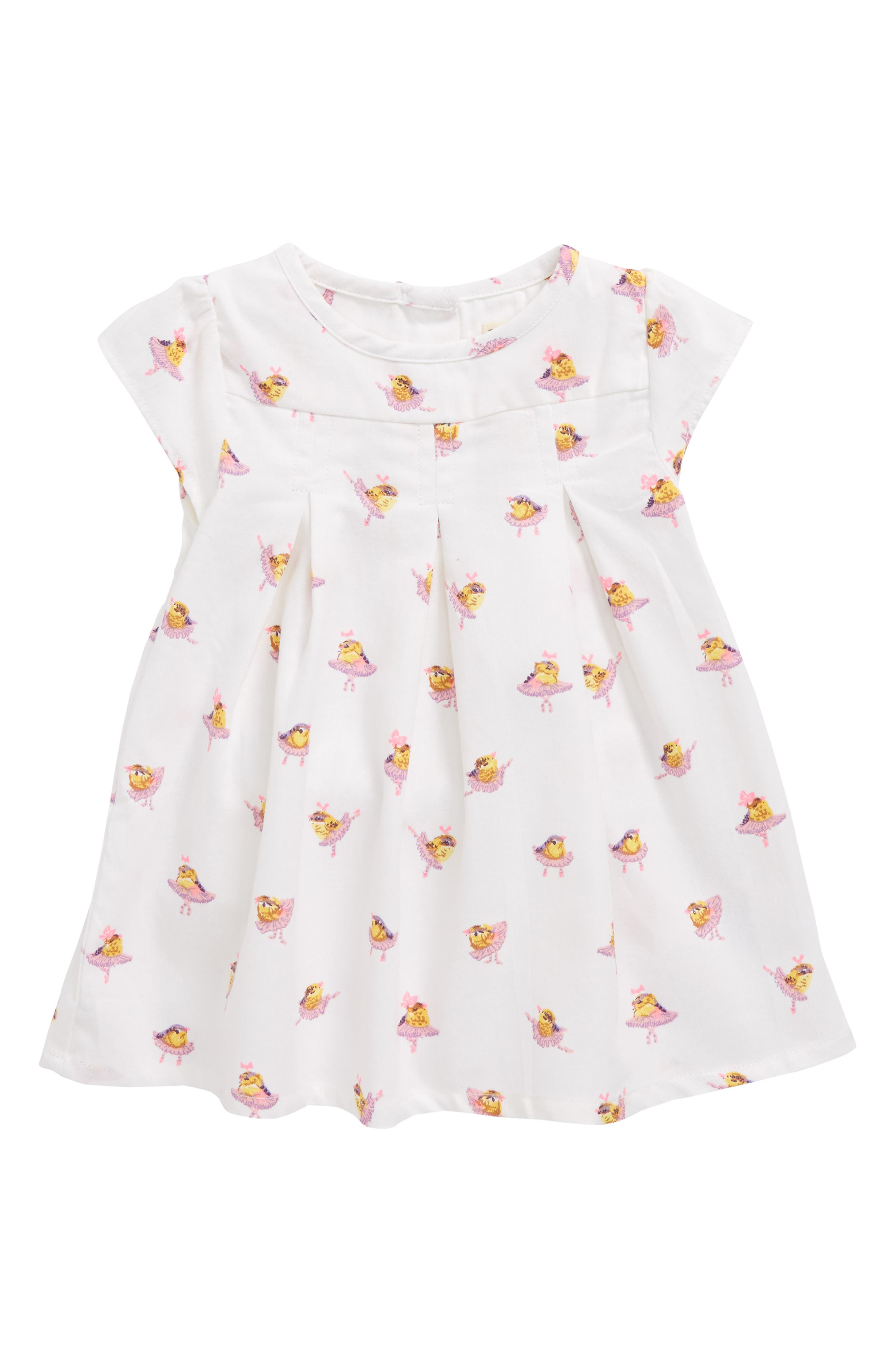 Pleated Dress,                         Main,                         color, Ballerina Birds