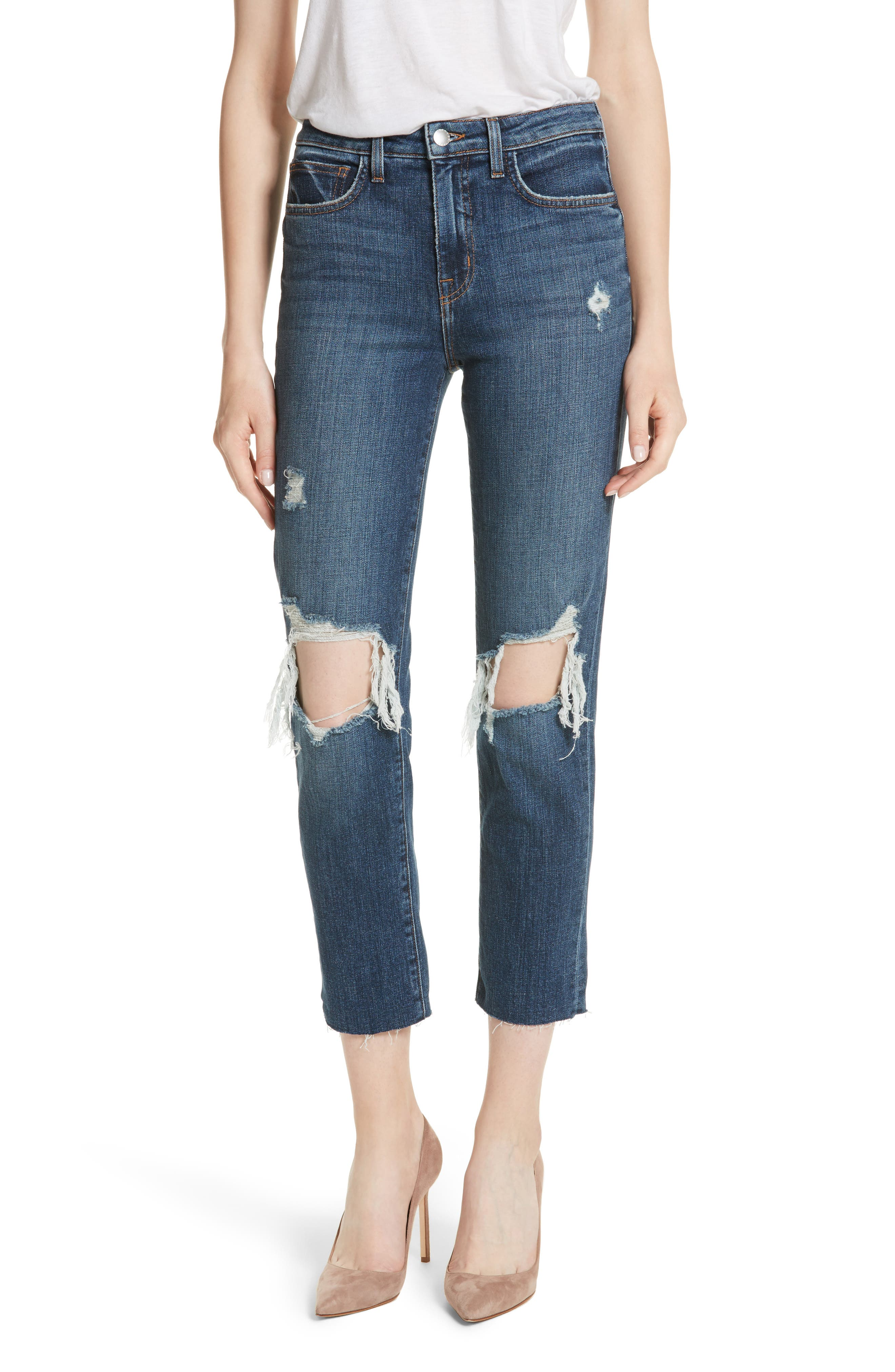 L'AGENCE Audrina Ripped Straight Leg Crop Jeans