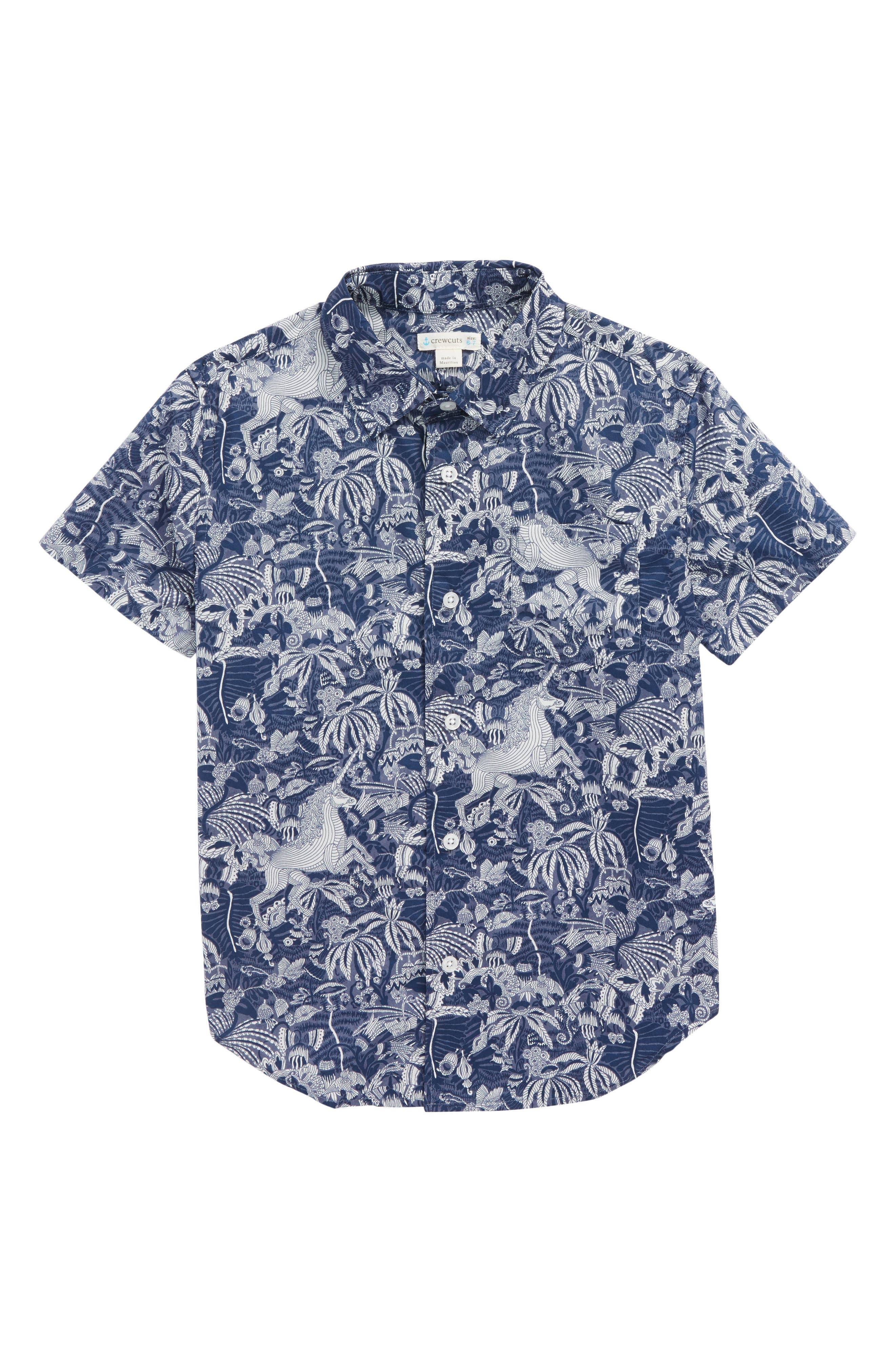 Jungle Unicorn Print Woven Shirt,                             Main thumbnail 1, color,                             Midnight Unicorn