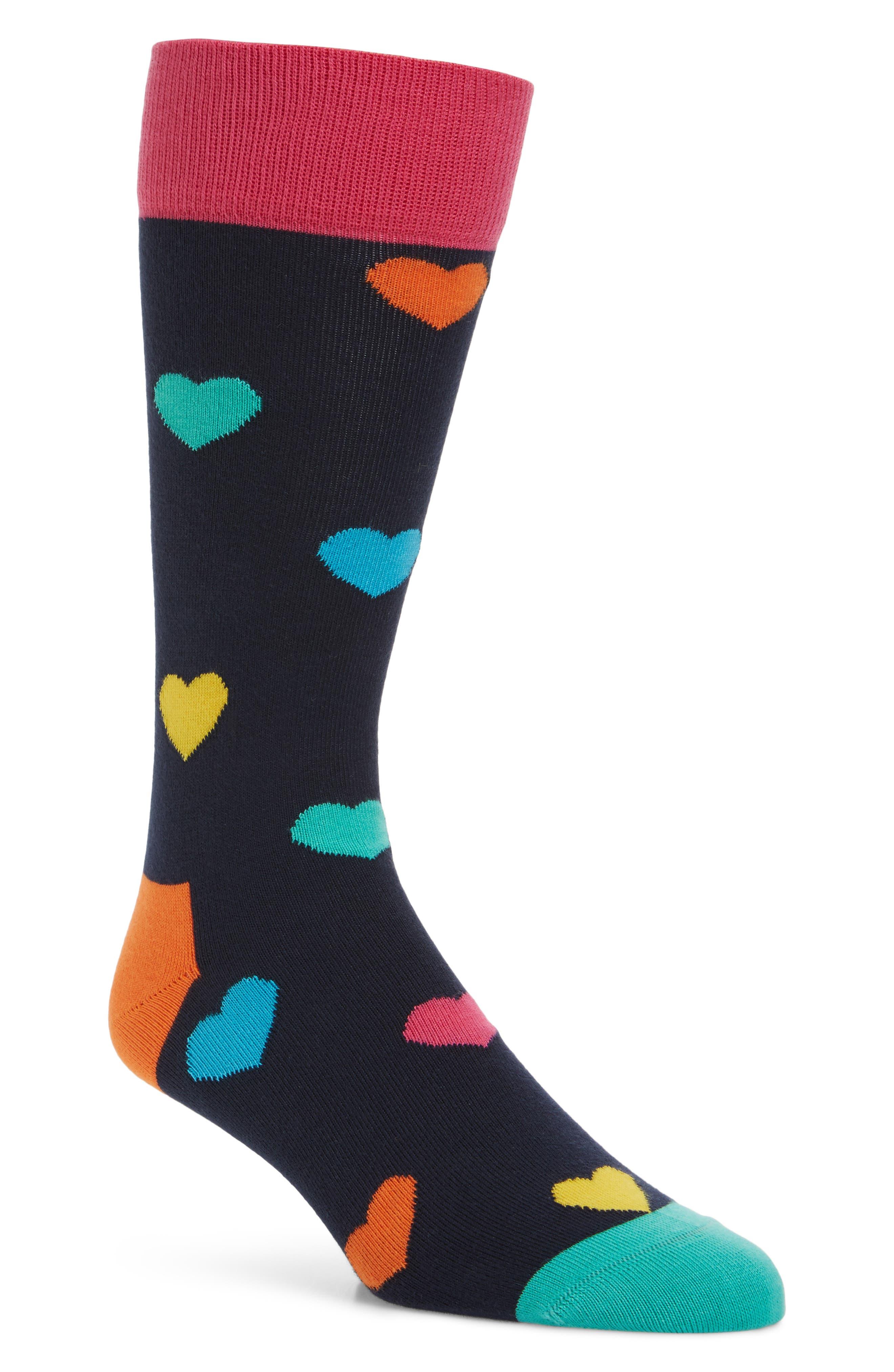 Heart Pattern Socks,                             Main thumbnail 1, color,                             Navy Multi