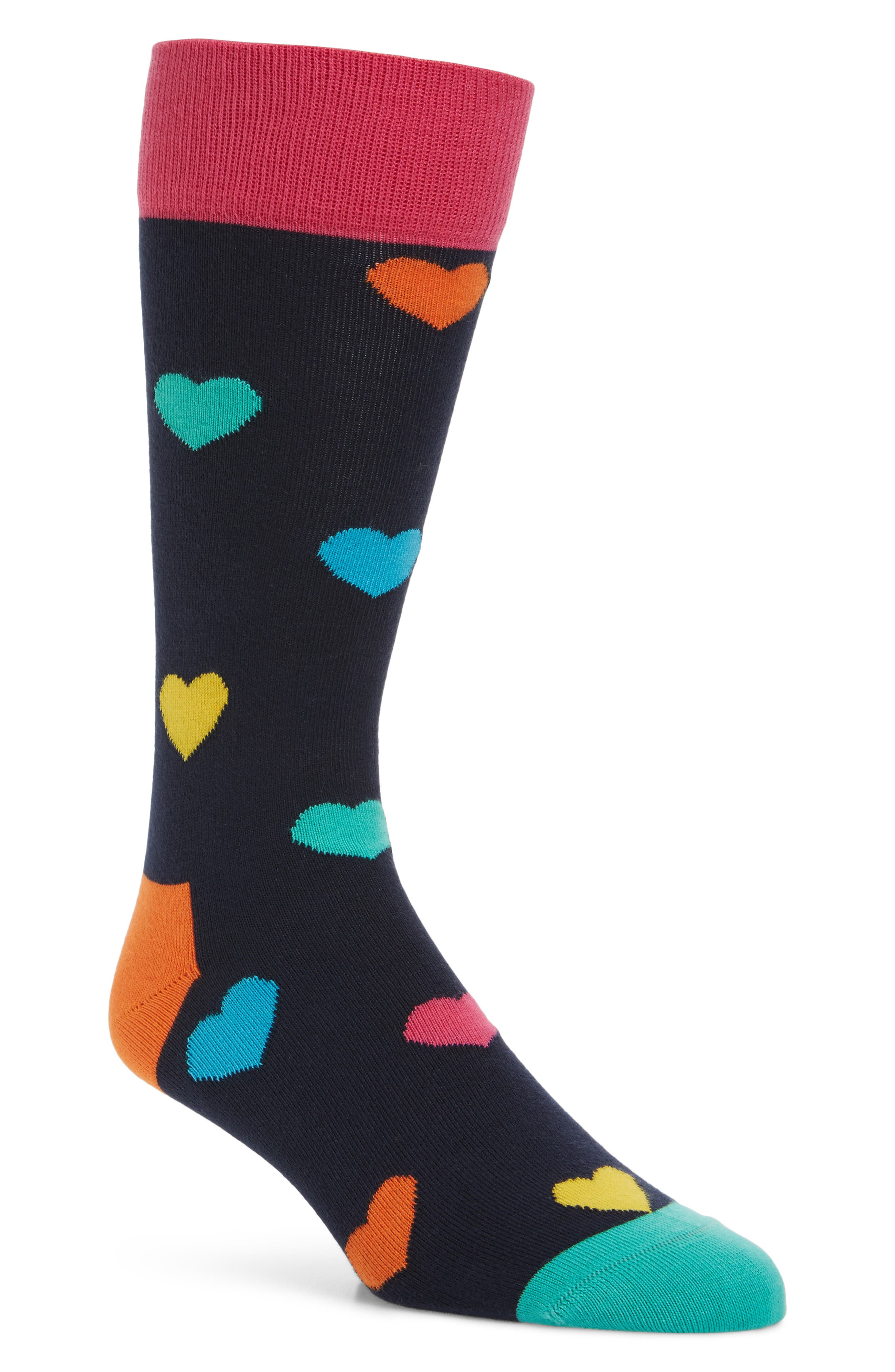 Heart Pattern Socks,                         Main,                         color, Navy Multi