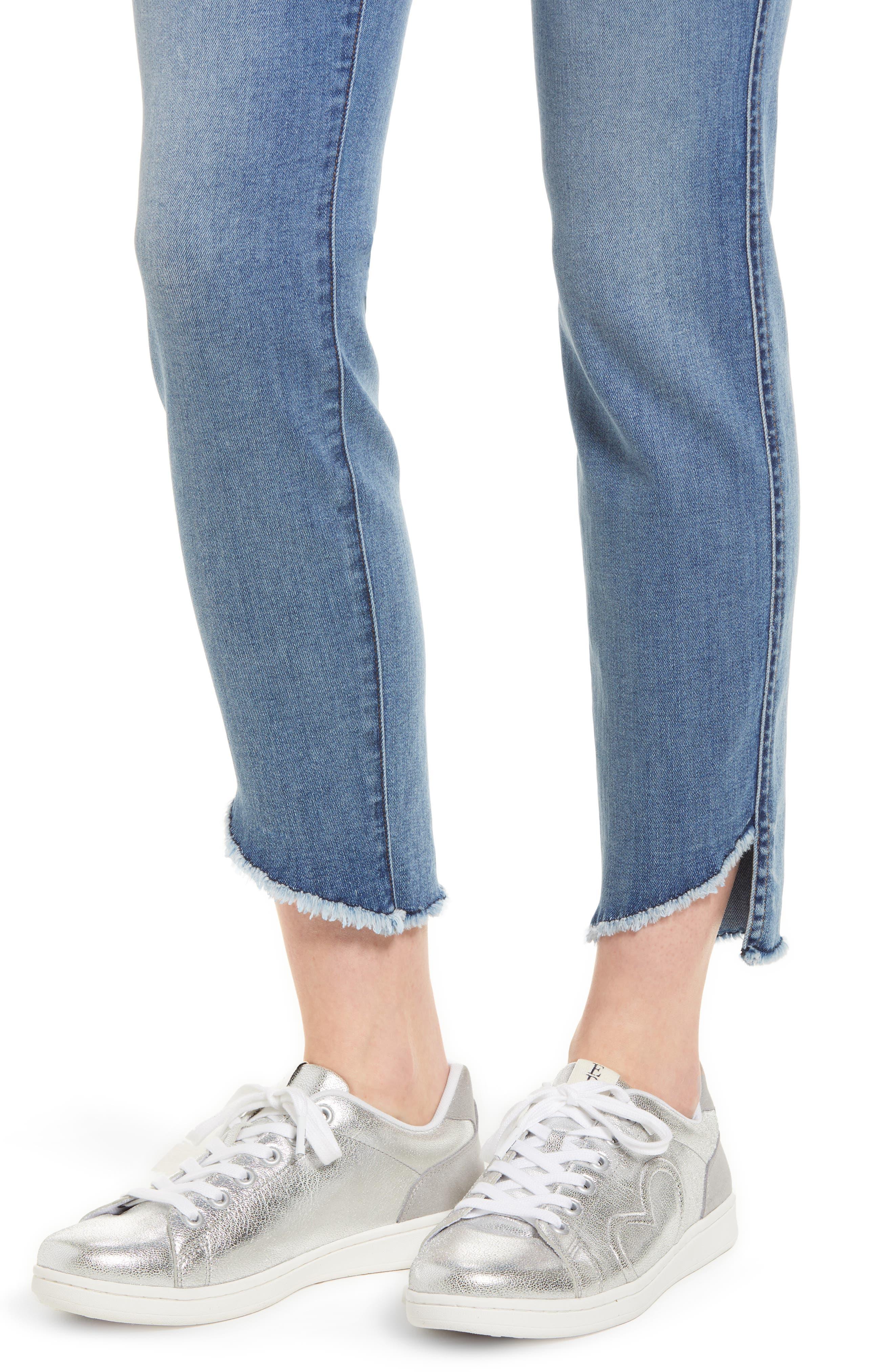 Raw Hem Skinny Jeans,                             Alternate thumbnail 4, color,                             Sunlight