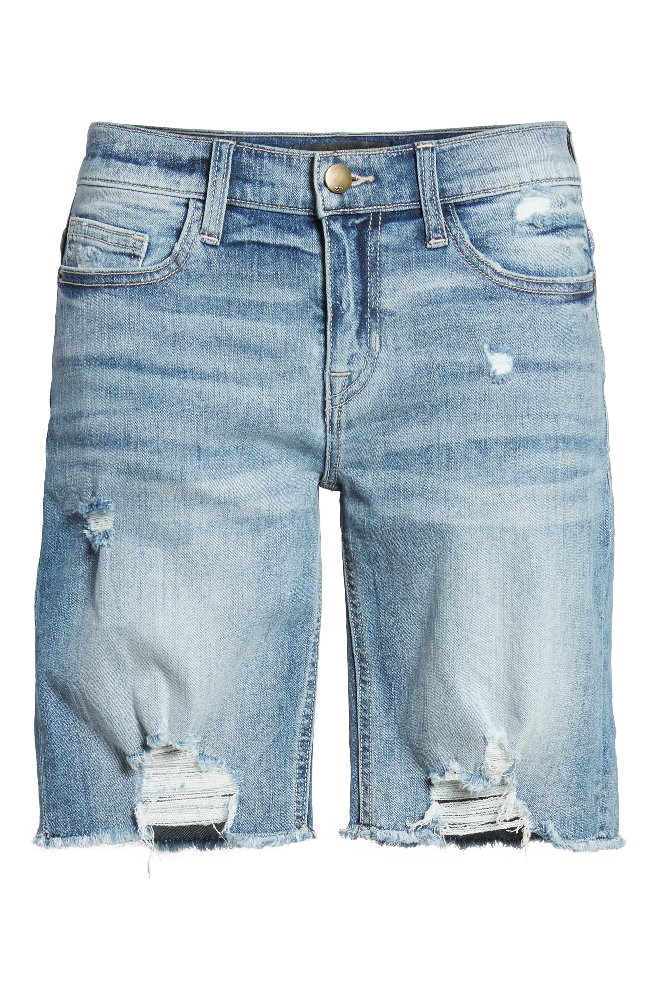 Ripped Denim Bermuda Shorts,                             Alternate thumbnail 6, color,                             Med Wash