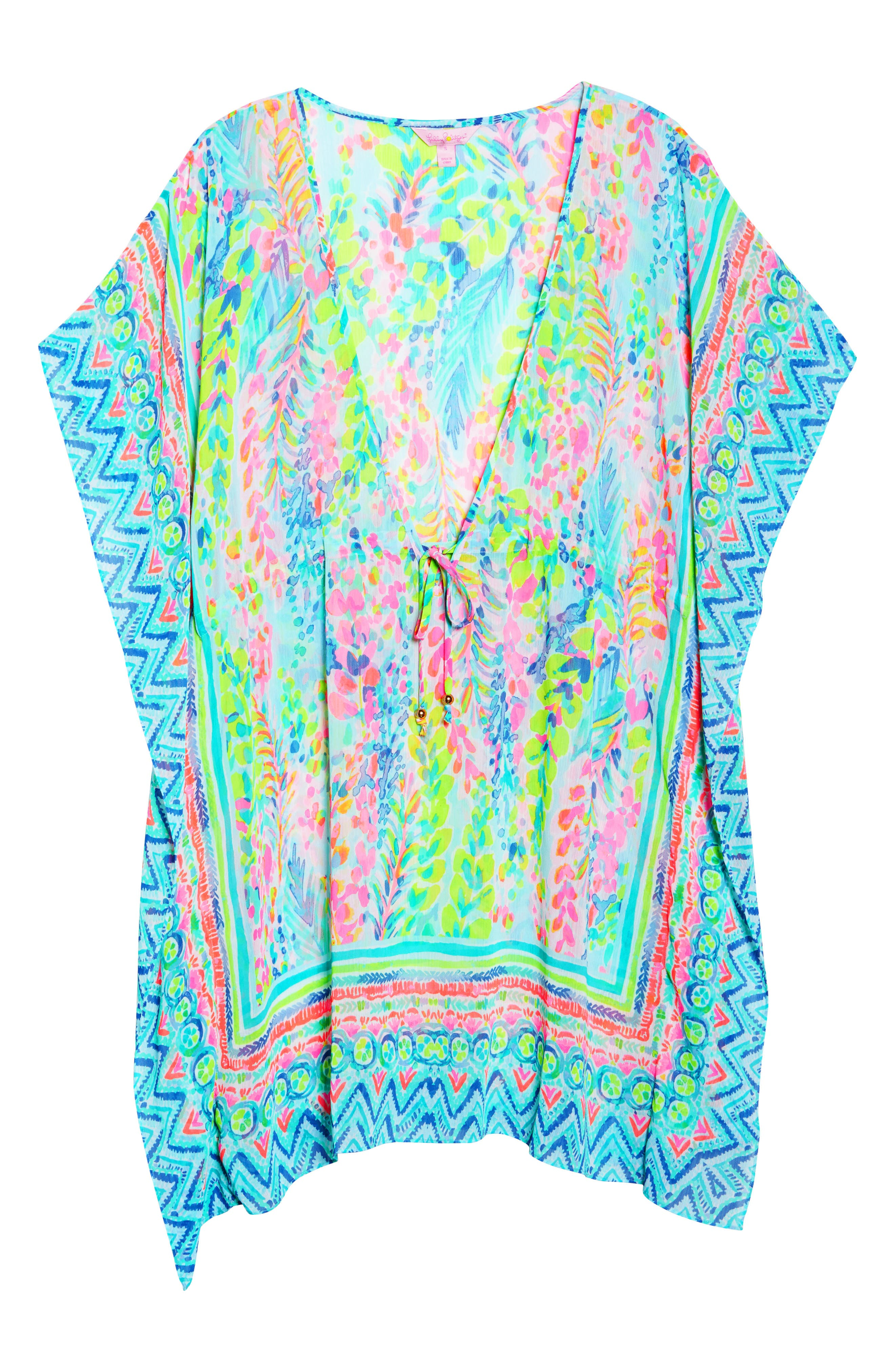Gardenia Tie Waist Cover-Up,                             Alternate thumbnail 6, color,                             Multi Catch The Wave