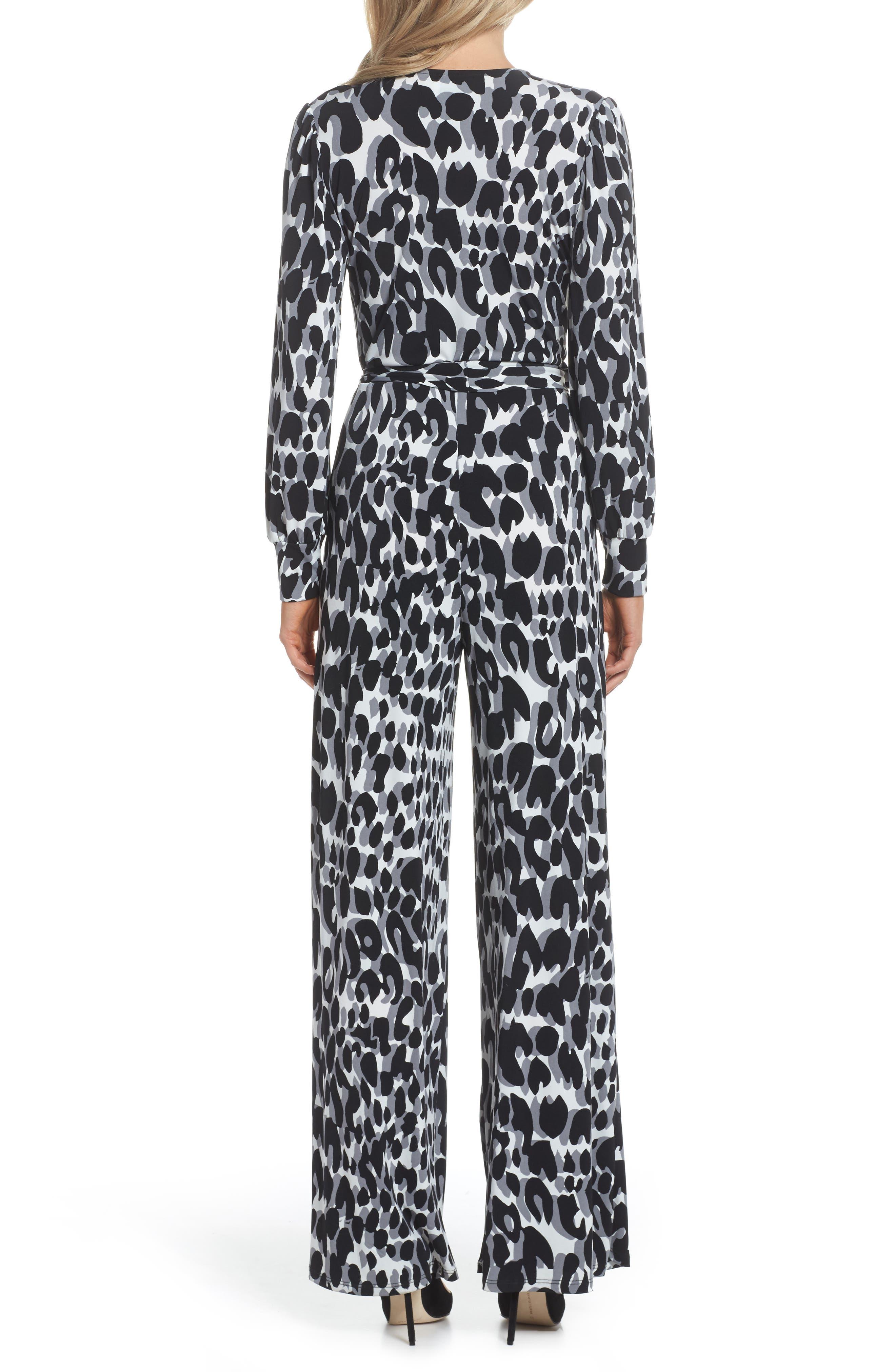 Julie Print Ruffle Jumpsuit,                             Alternate thumbnail 2, color,                             Painted Leopard Grey