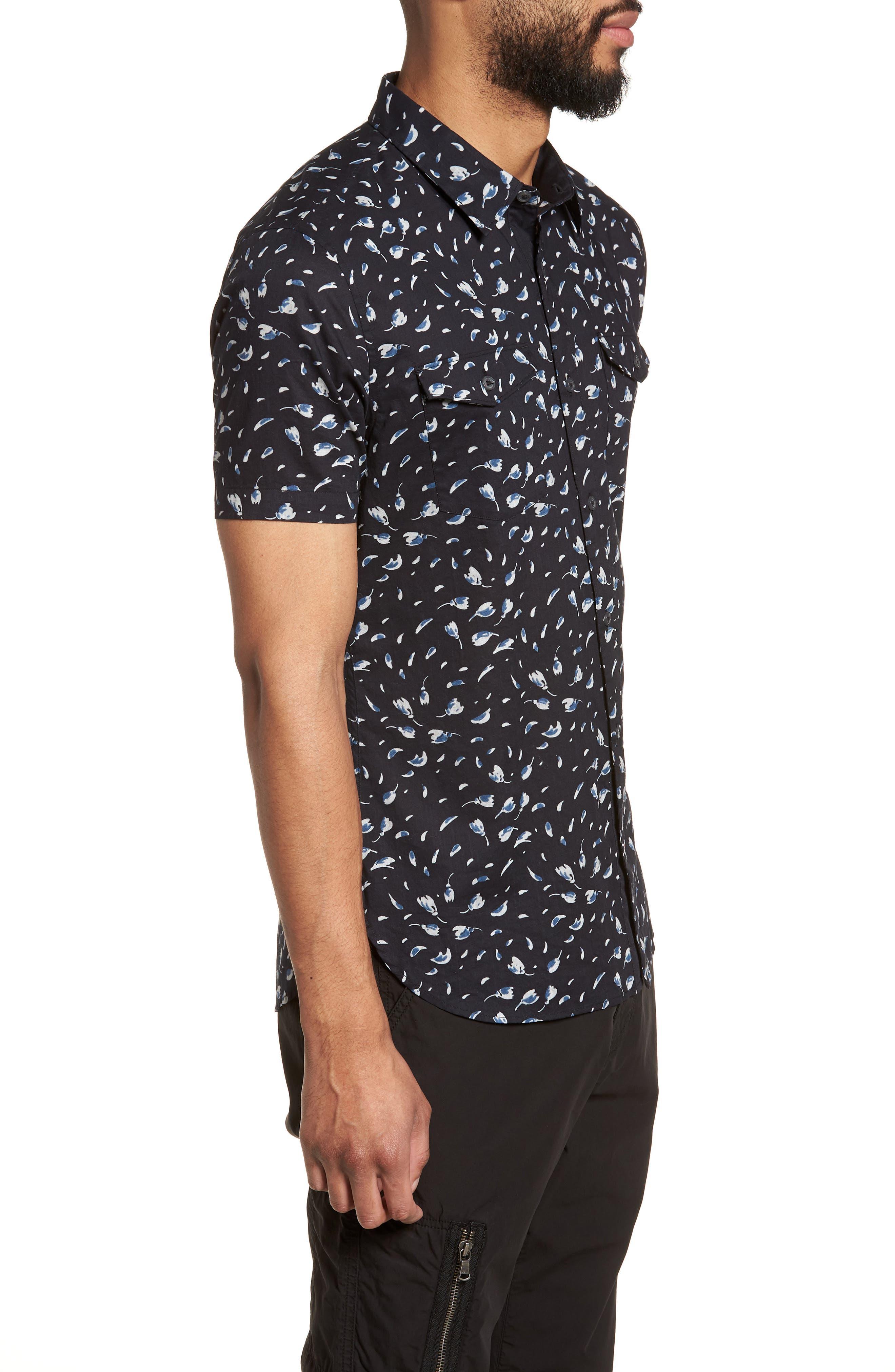 Extra Slim Fit Print Sport Shirt,                             Alternate thumbnail 4, color,                             Mercury Grey
