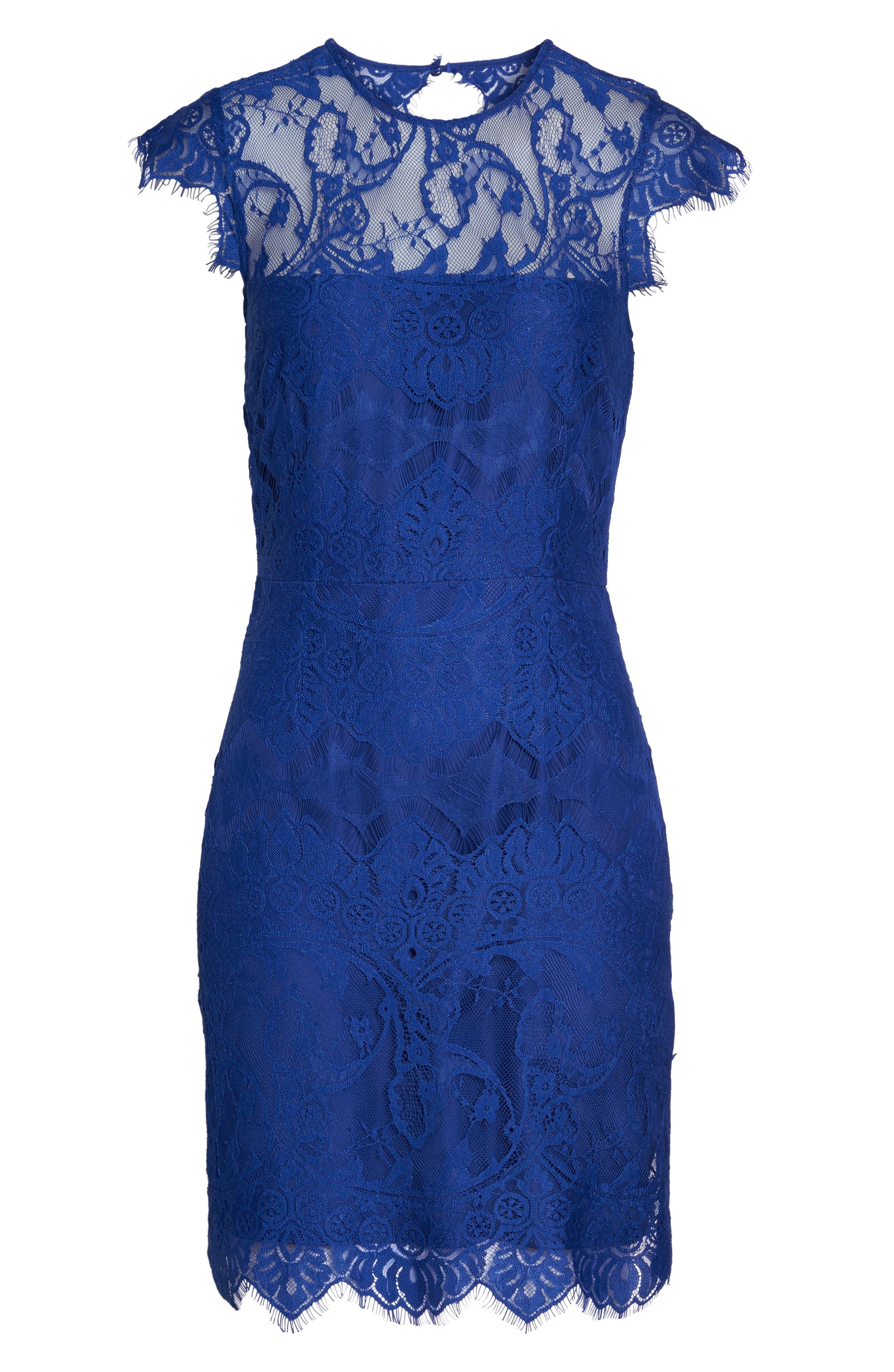 Jayce Lace Sheath Dress,                             Alternate thumbnail 6, color,                             Sapphire