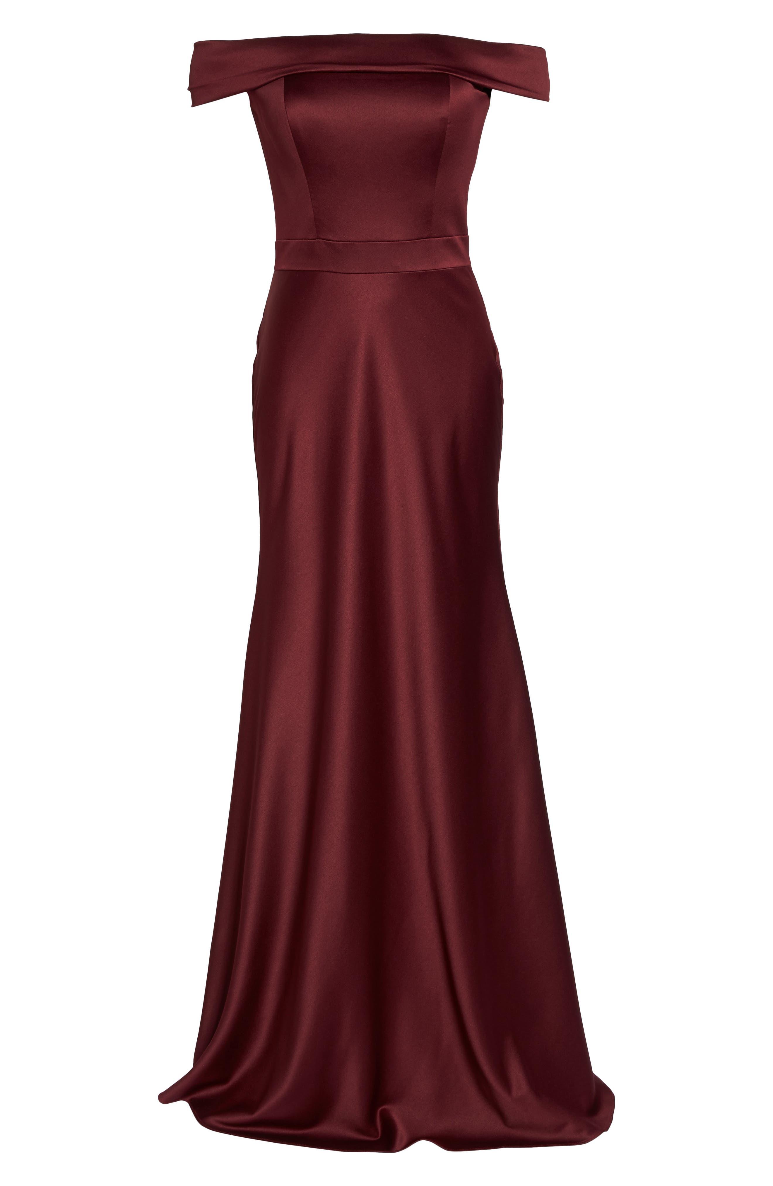 Alternate Image 6  - La Femme Satin Off the Shoulder Gown