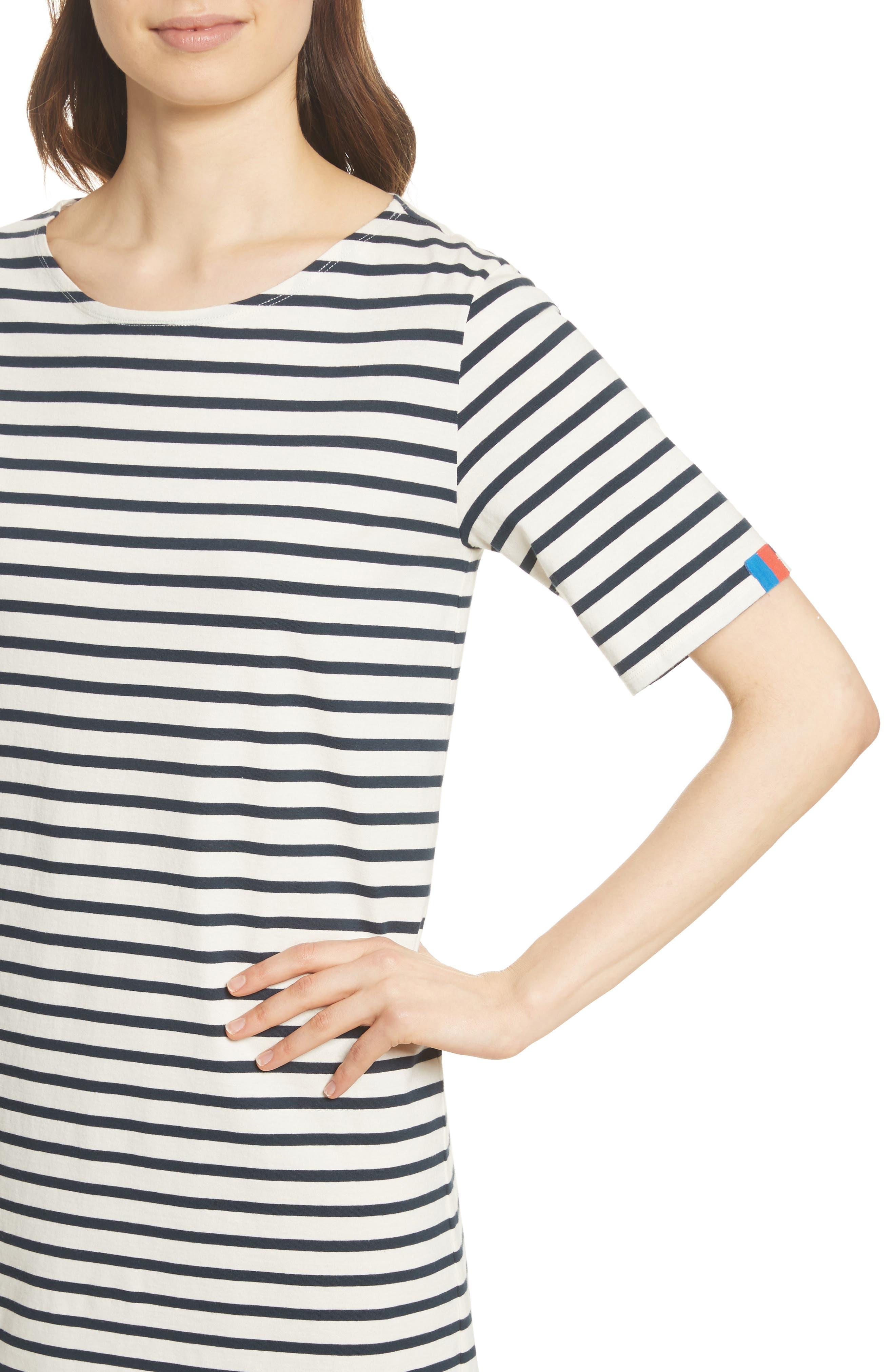 The Tee Stripe Dress,                             Alternate thumbnail 4, color,                             Cream/ Navy