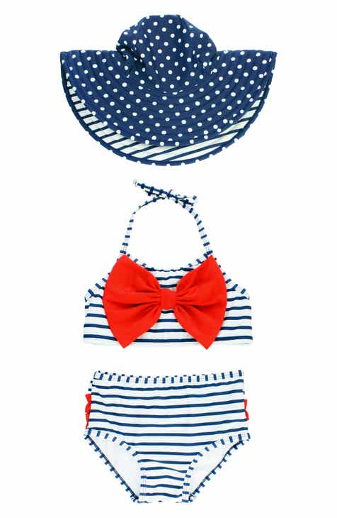 3763824177 RuffleButts Stripe Two-Piece Swimsuit & Reversible Sun Hat Set (Baby Girls)