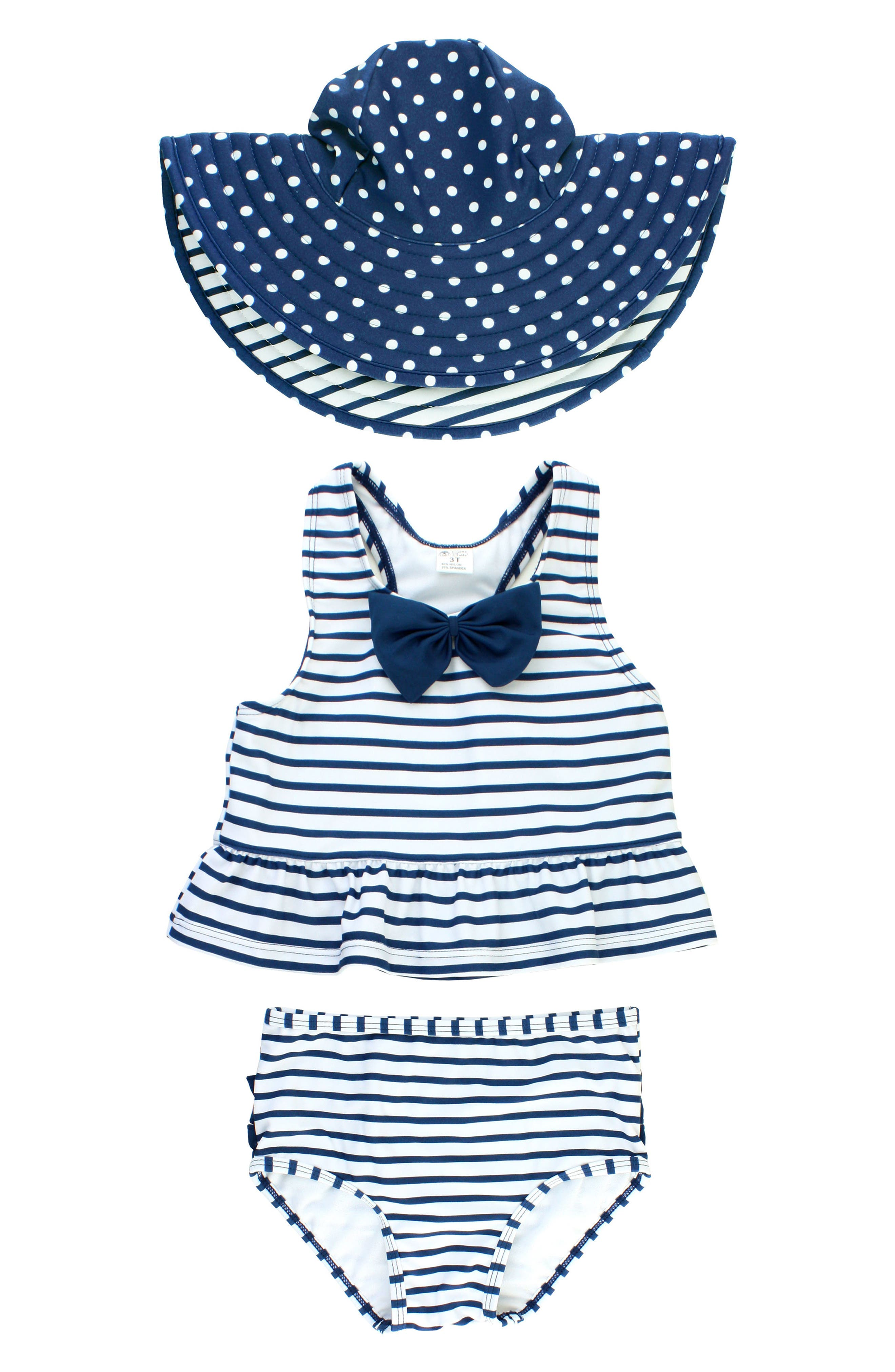 Stripe Peplum Two-Piece Tankini Swimsuit & Reversible Hat Set,                         Main,                         color, Navy