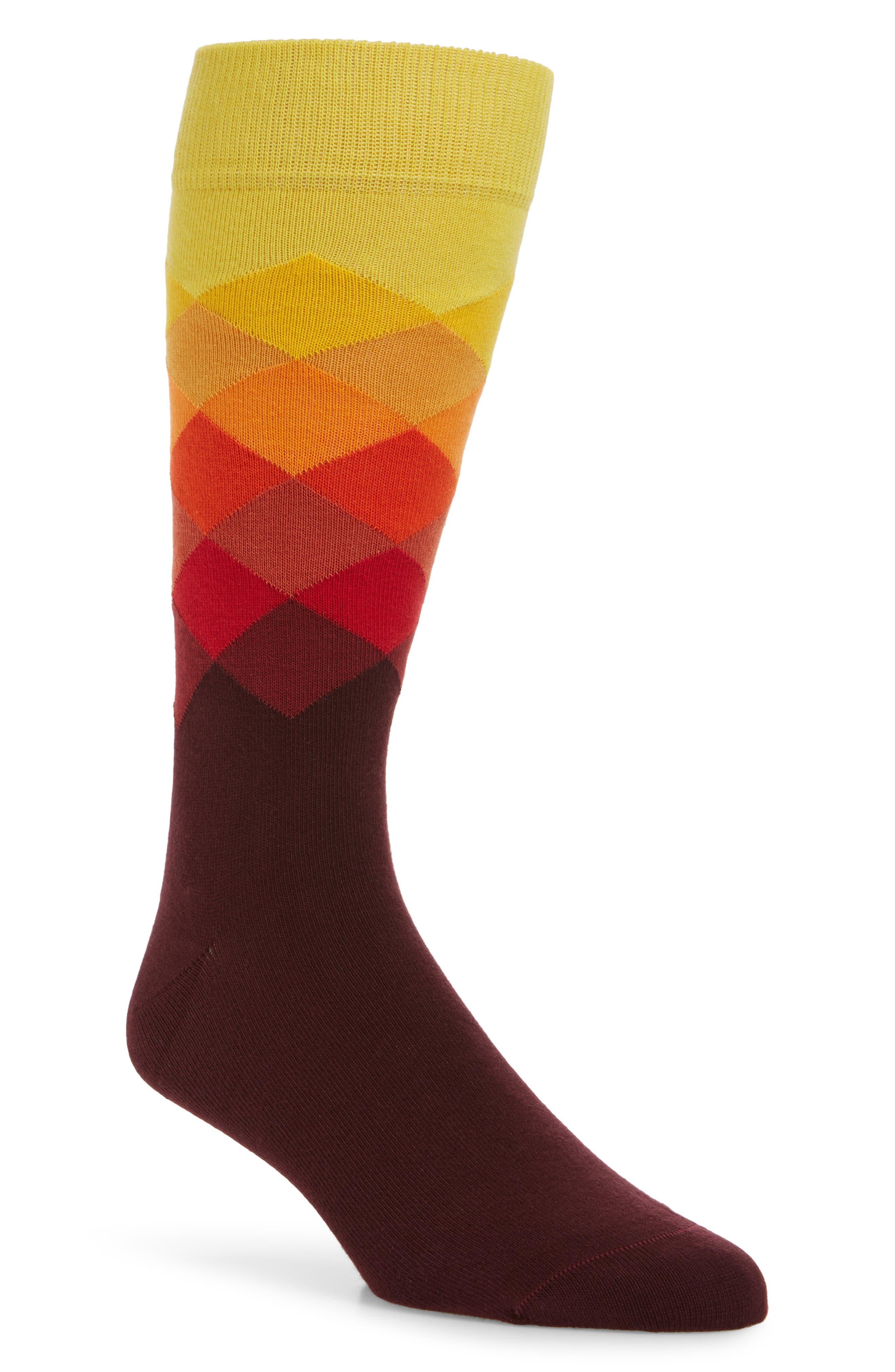 Faded Diamond Pattern Socks,                         Main,                         color, Purple Multi