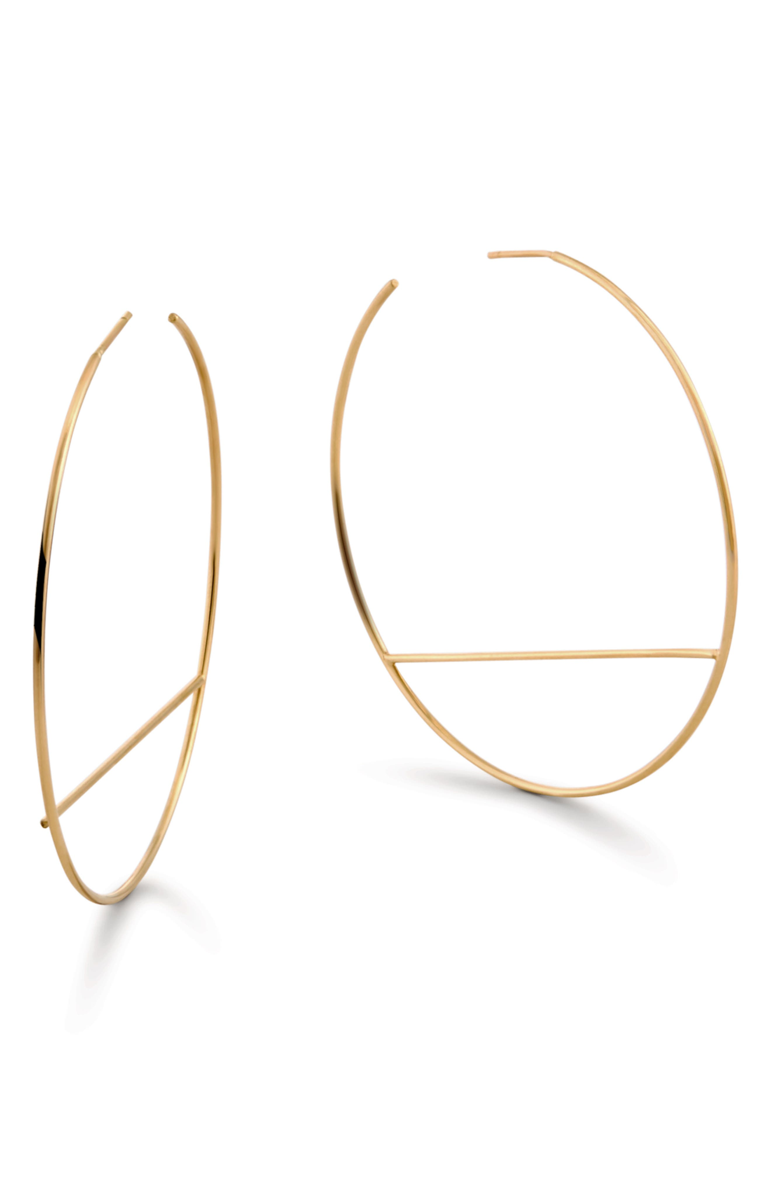 Wire Eclipse Hoop Earrings,                             Main thumbnail 1, color,                             Yellow Gold