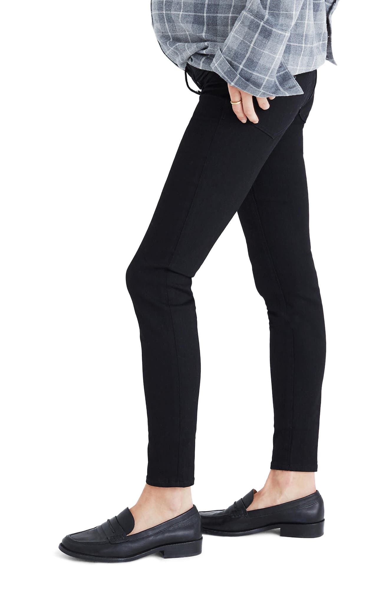 Maternity Skinny Jeans,                             Alternate thumbnail 3, color,                             Black Frost