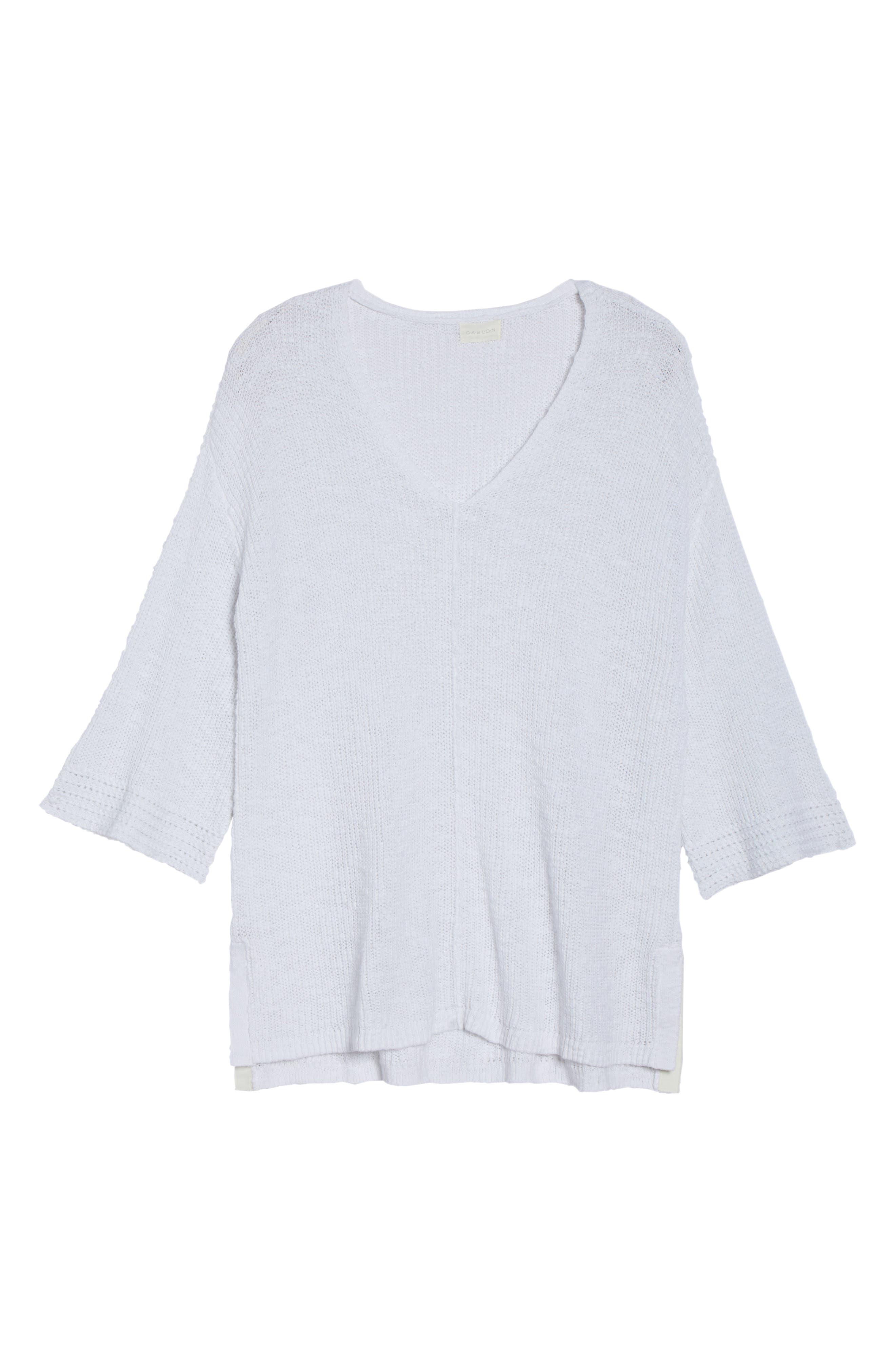 Hidden Snap V-Neck Sweater,                             Alternate thumbnail 7, color,                             White
