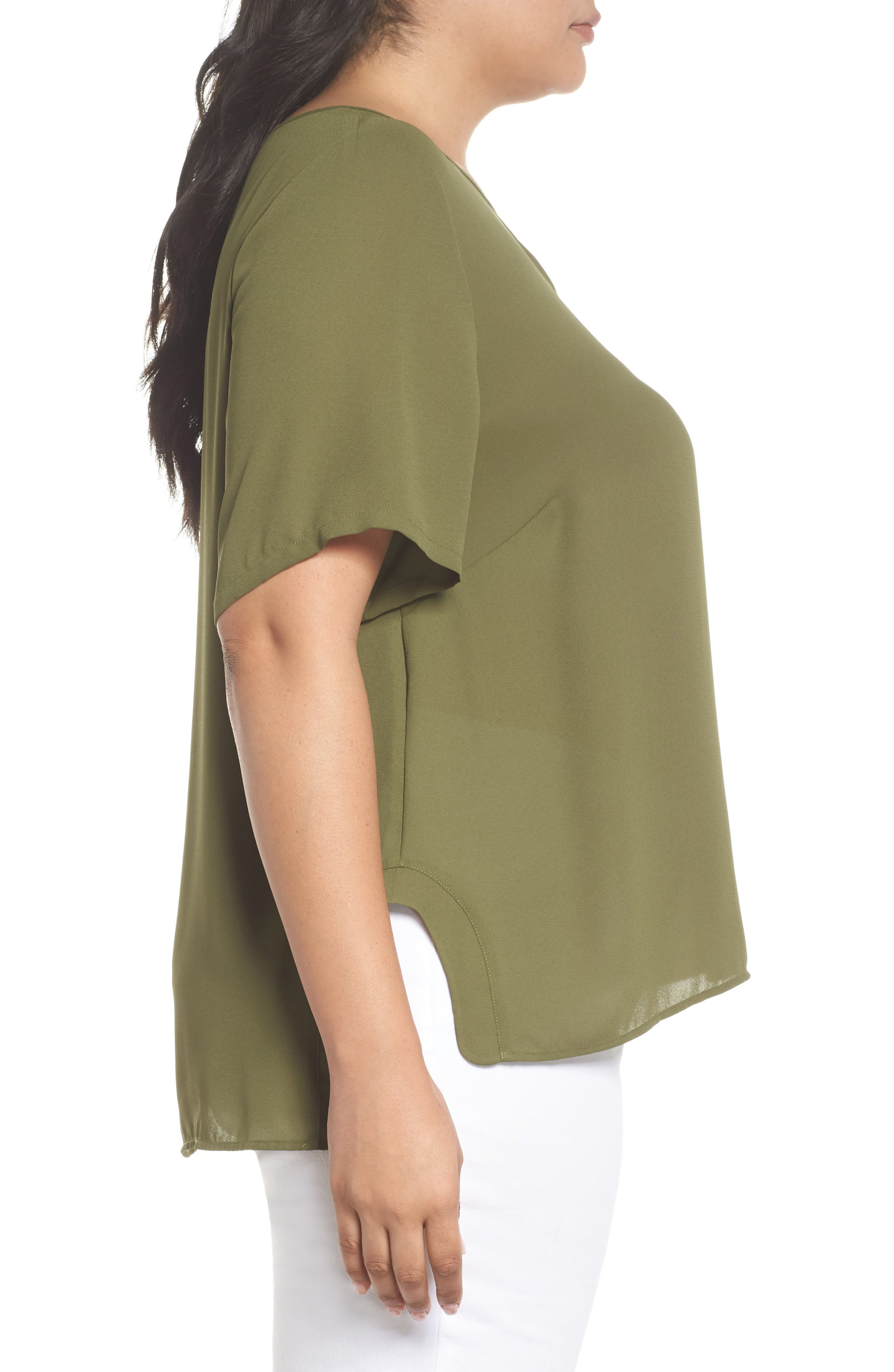 Curved High/Low Top,                             Alternate thumbnail 3, color,                             Olive Moss