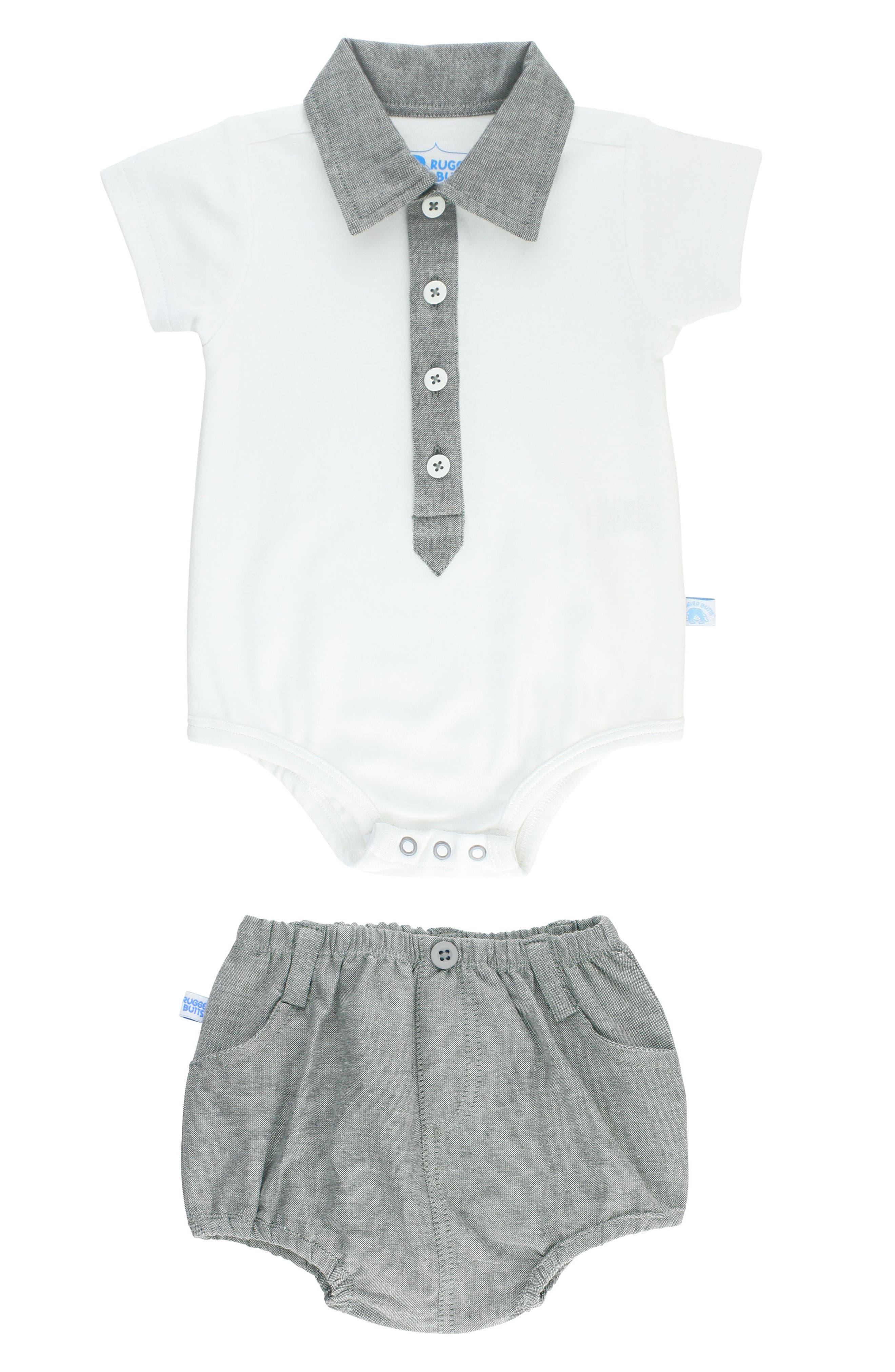 Main Image - RuggedButts Polo Bodysuit & Chambray Shorts Set (Baby Boys)