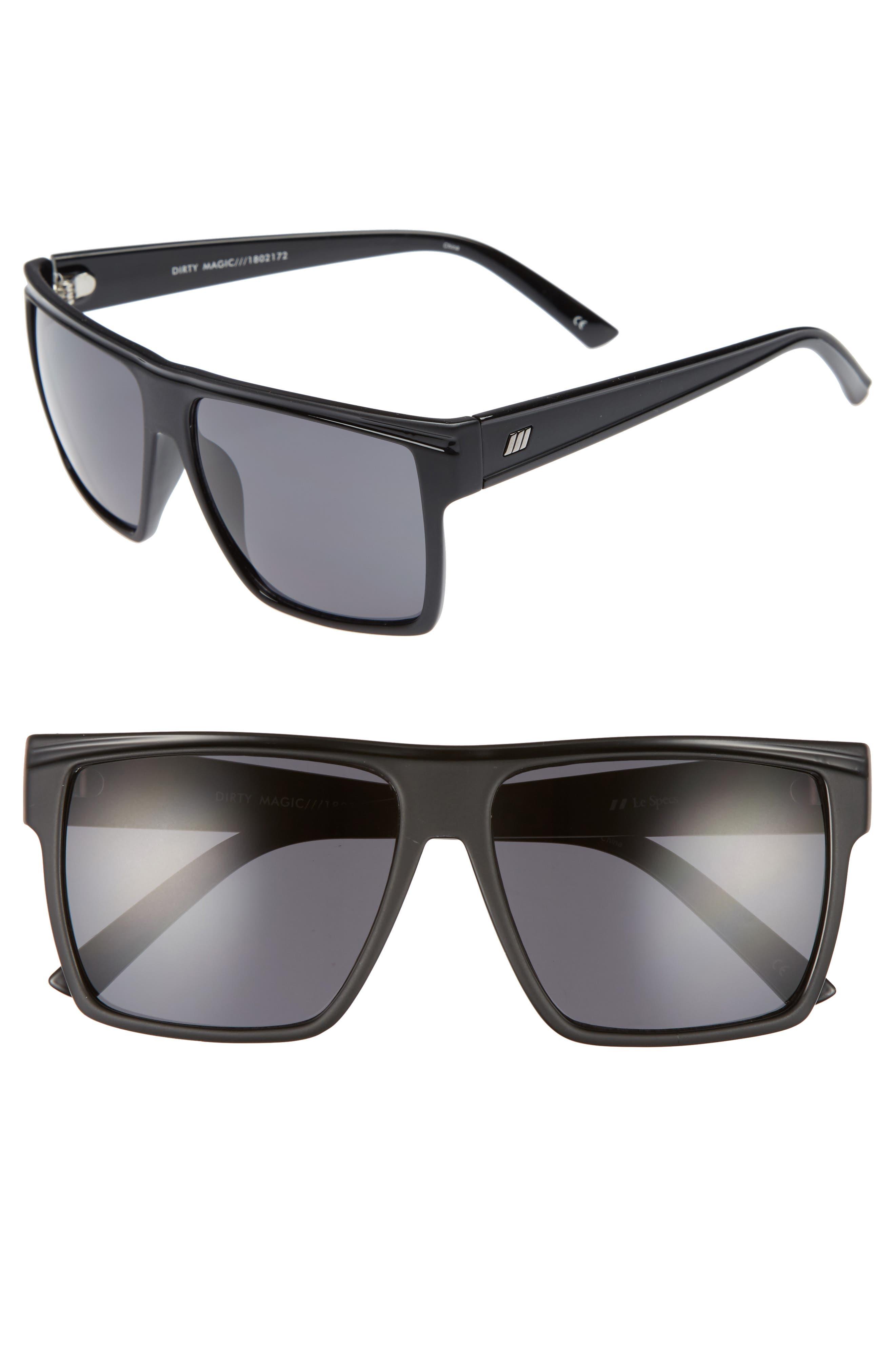 Dirty Magic 56mm Rectangle Sunglasses,                             Main thumbnail 1, color,                             Matte Black