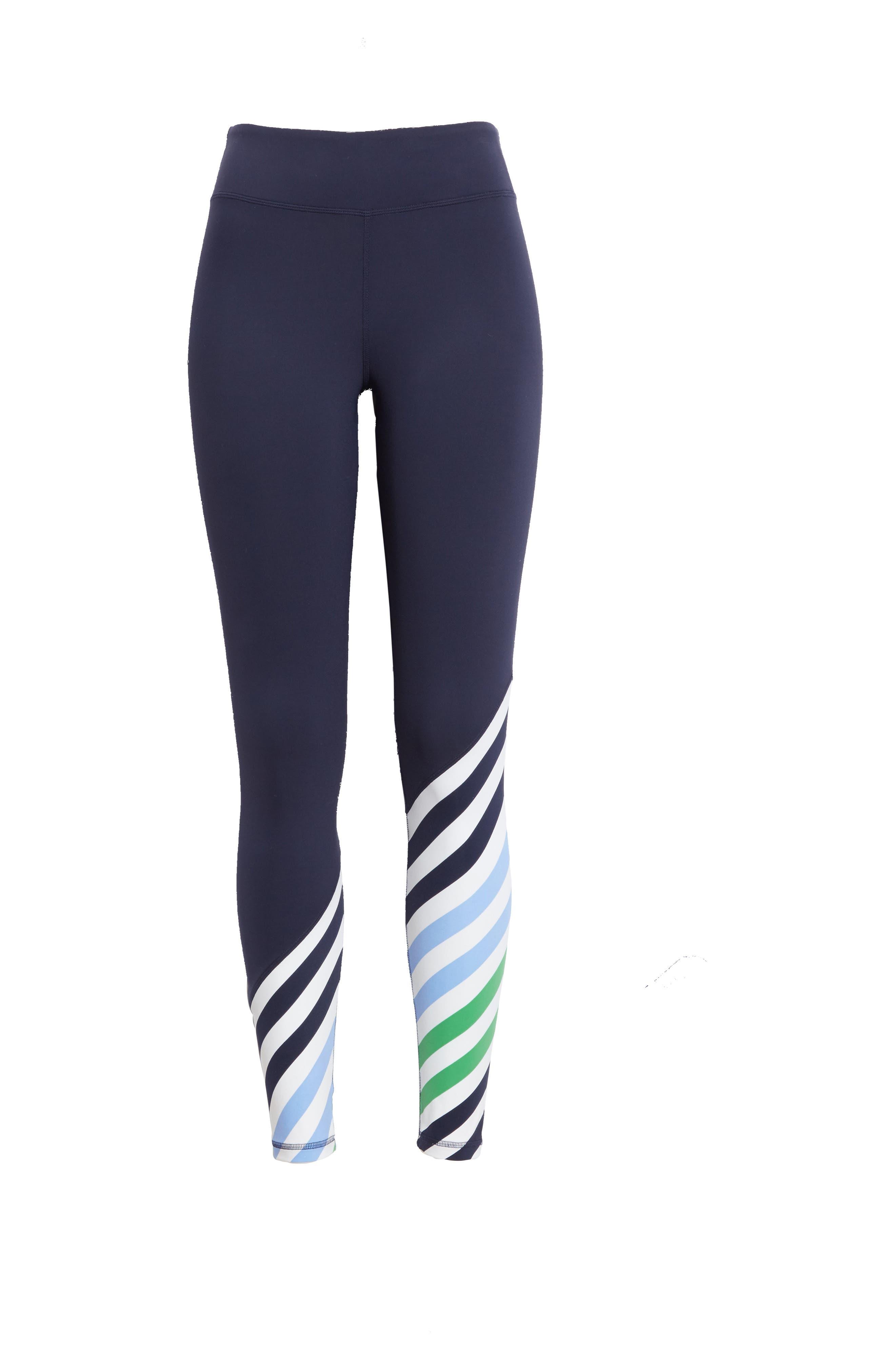 Diagonal Stripe Leggings,                             Alternate thumbnail 6, color,                             Tory Navy