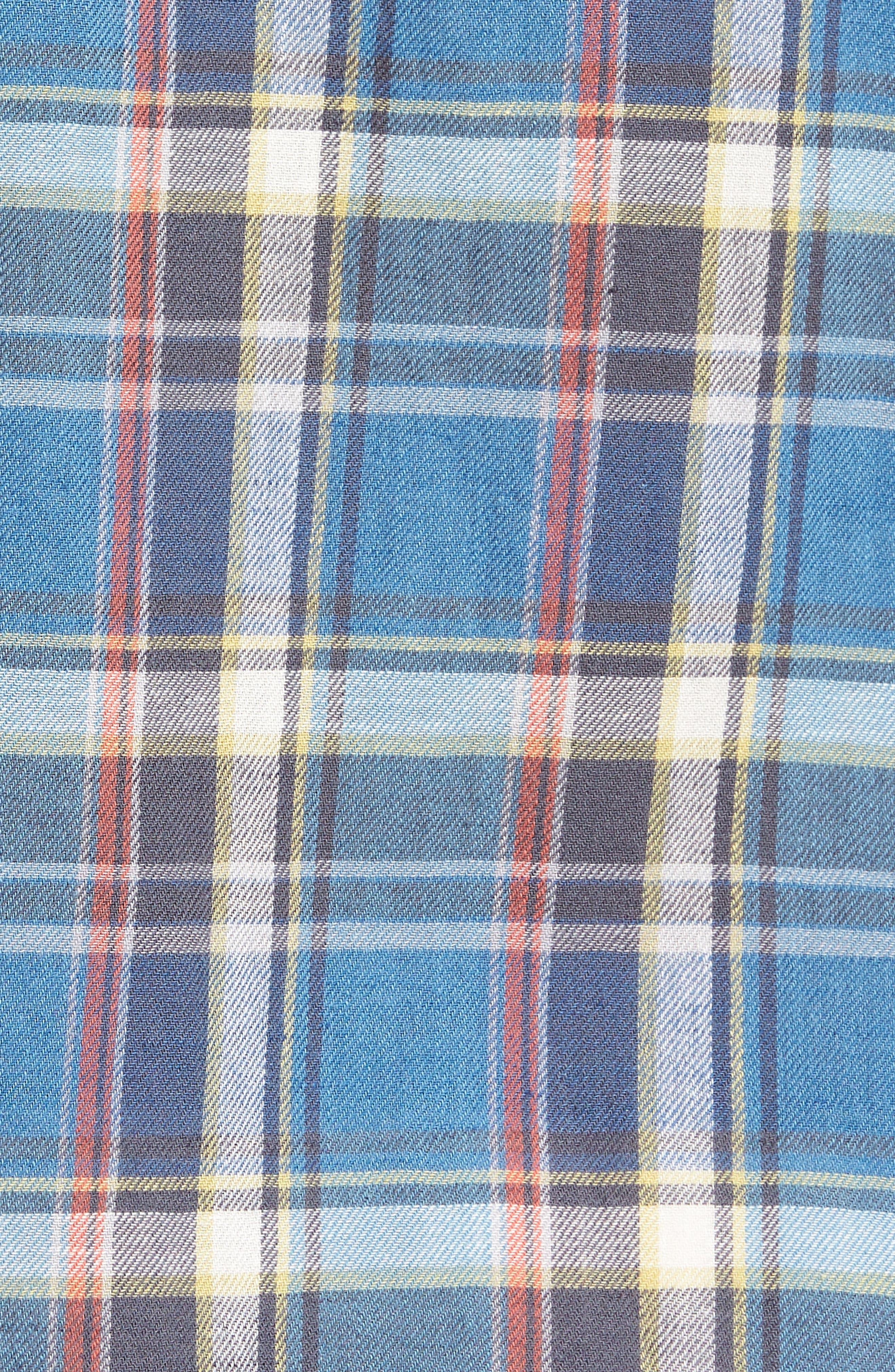 Slim Fit Plaid Sport Shirt,                             Alternate thumbnail 5, color,                             Light Blue
