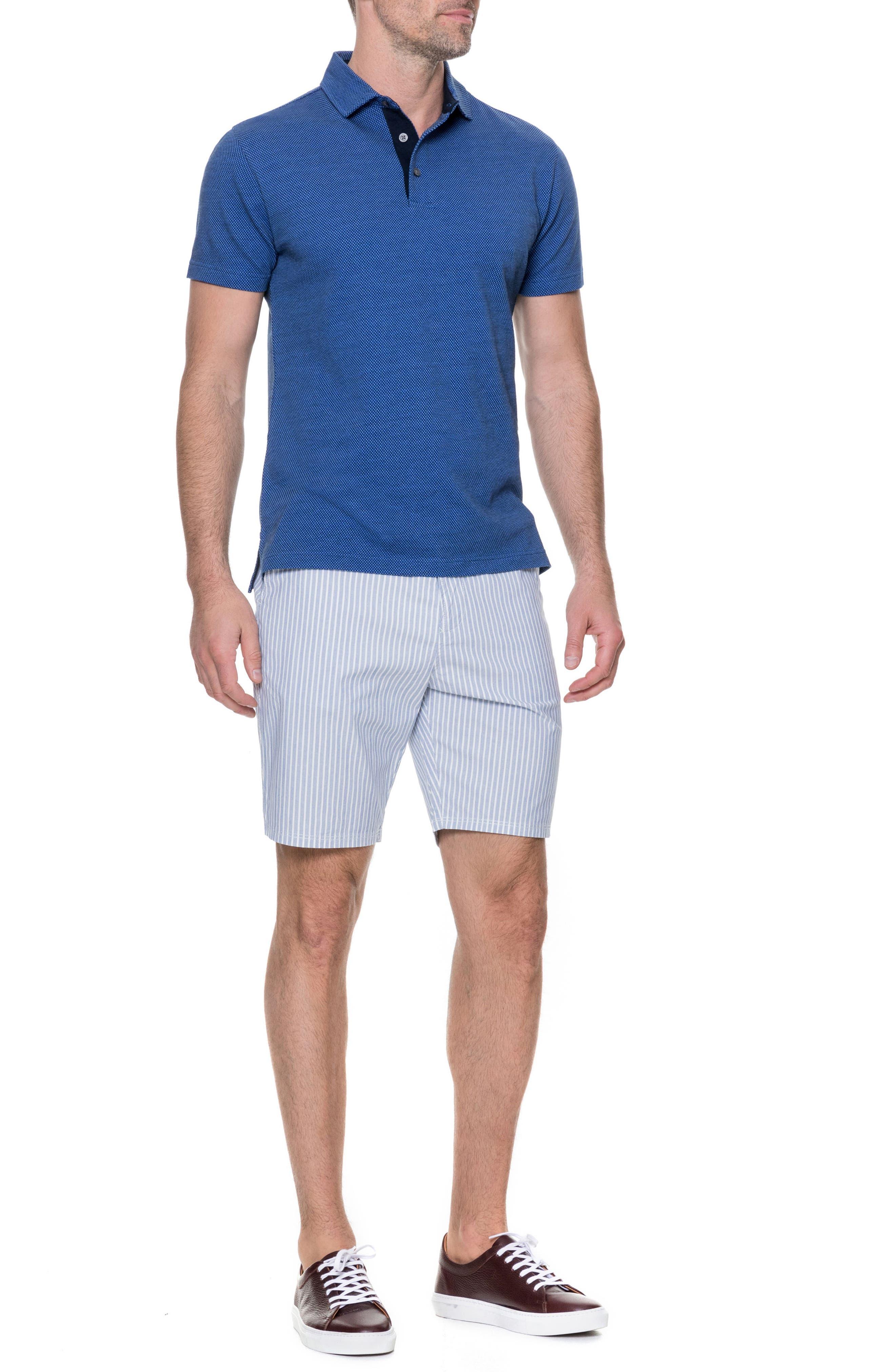 Preston Regular Fit Flat Front Shorts,                             Alternate thumbnail 5, color,                             Pacific