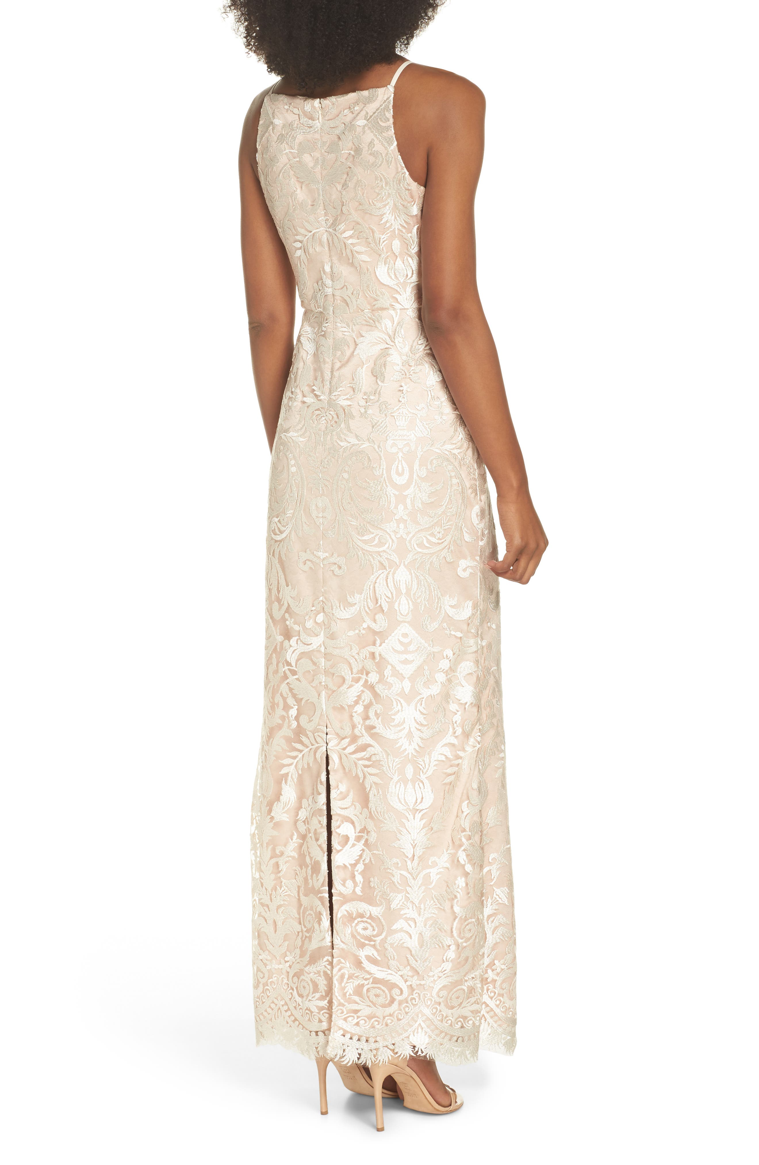 Sleeveless Embroidered Gown,                             Alternate thumbnail 2, color,                             Champagne