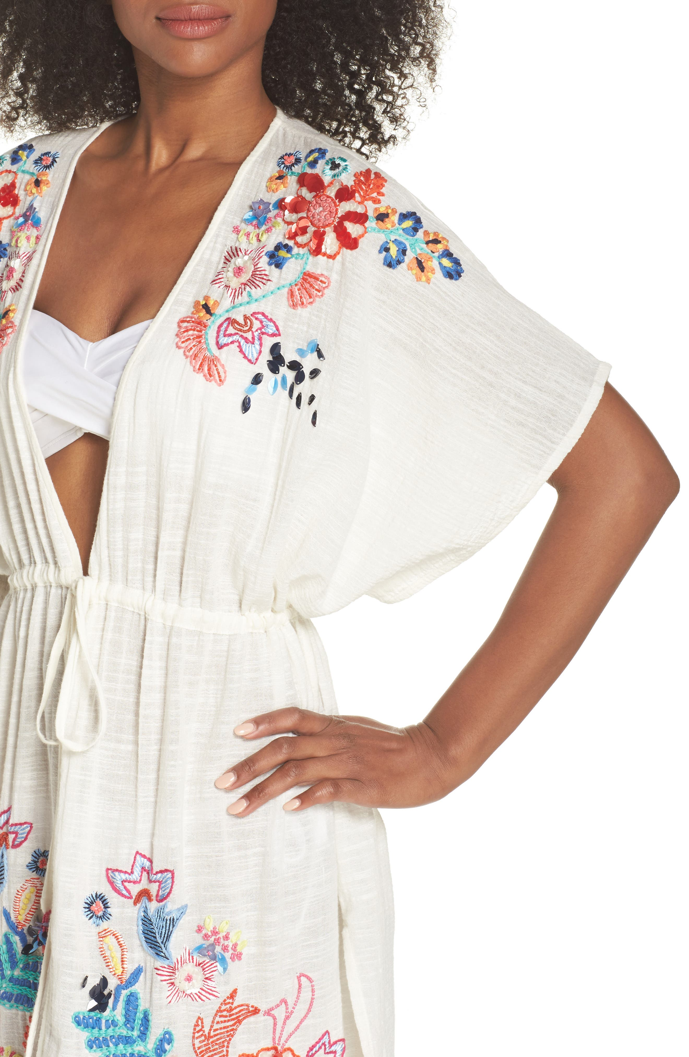 Wildflower Cover-Up Tunic,                             Alternate thumbnail 4, color,                             White