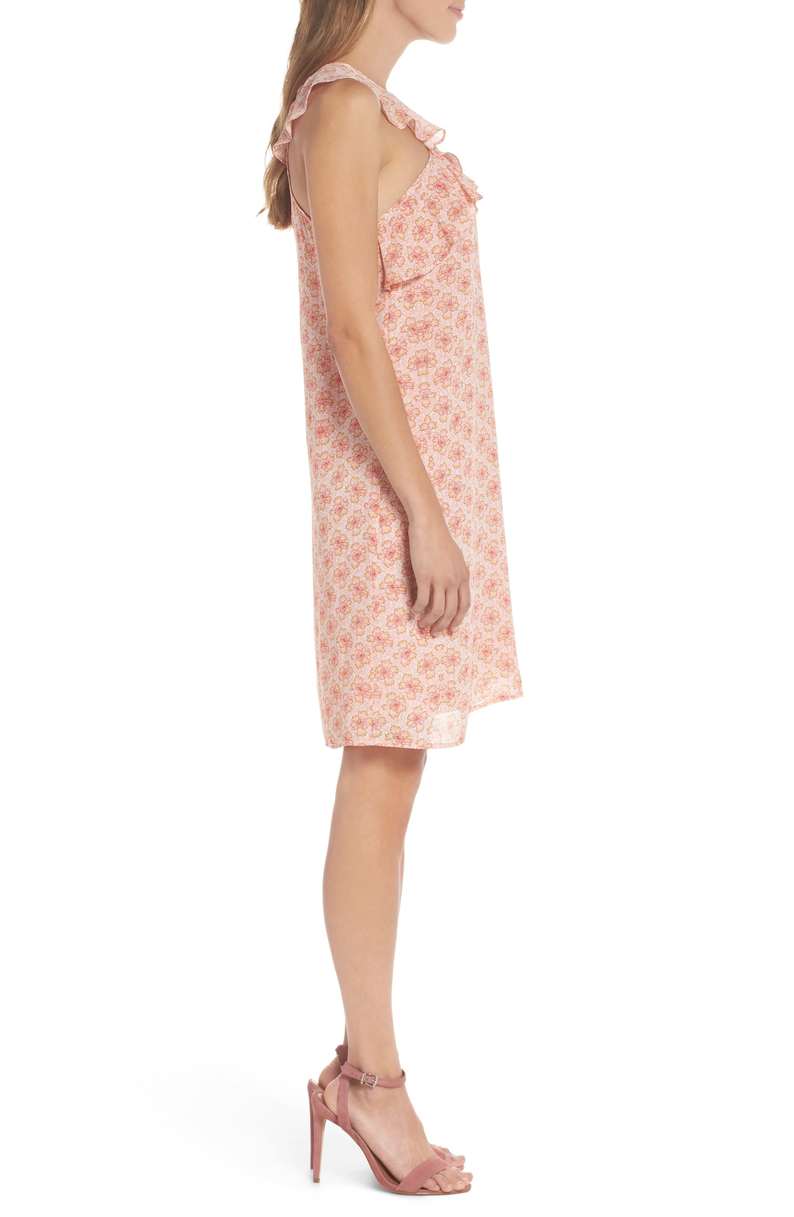 Crisscross Ruffle Shift Dress,                             Alternate thumbnail 3, color,                             Pink Multi