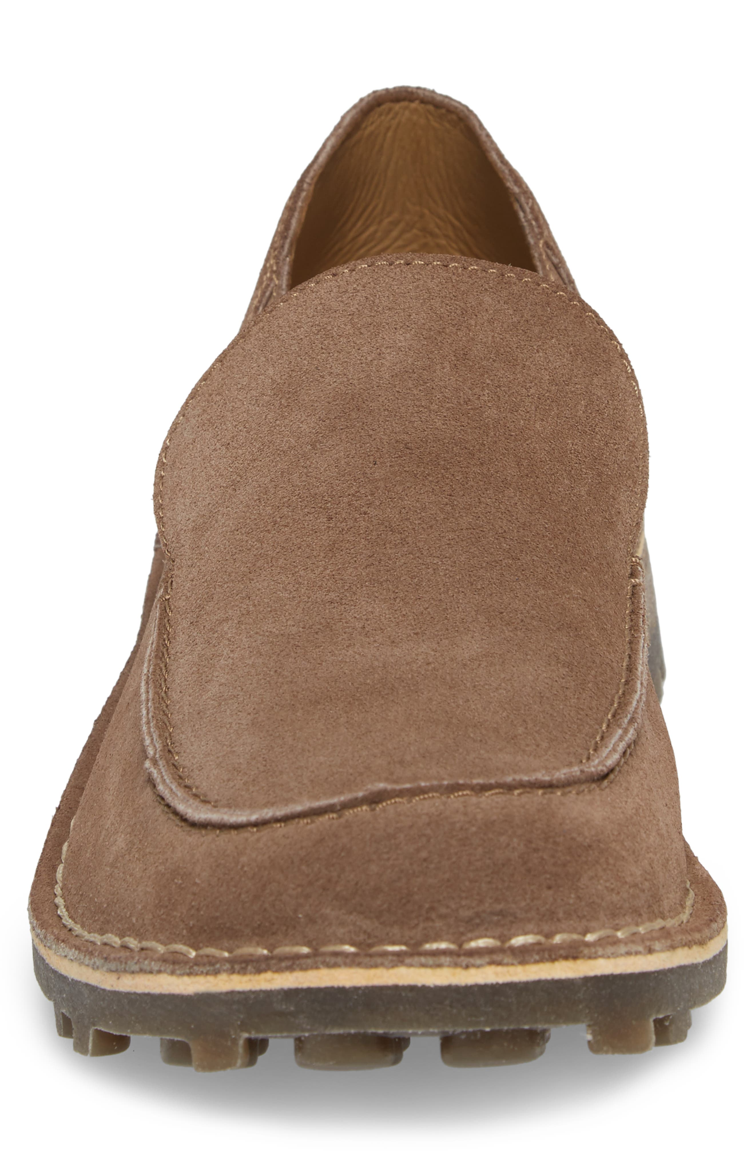Meve Moc Toe Loafer,                             Alternate thumbnail 4, color,                             Taupe Suede