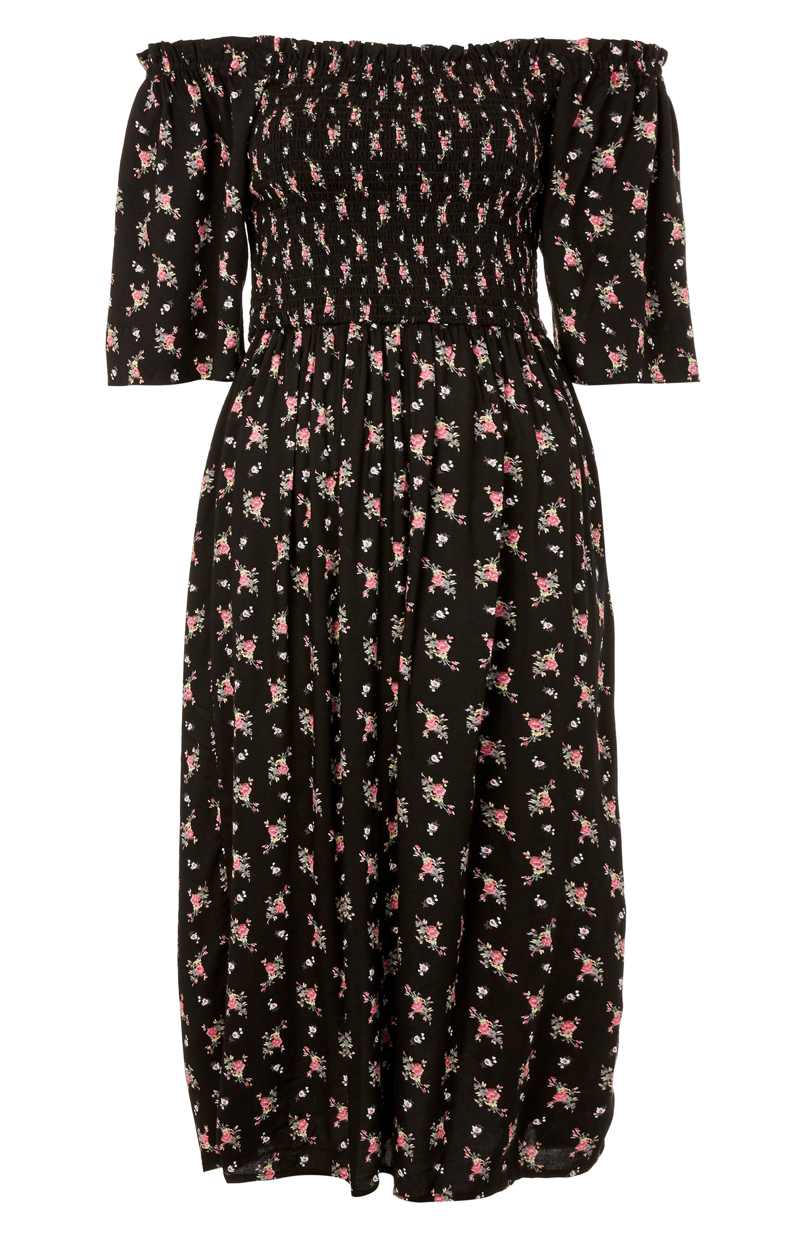 Shirred Bell Sleeve Midi Dress,                             Alternate thumbnail 4, color,                             Black Multi