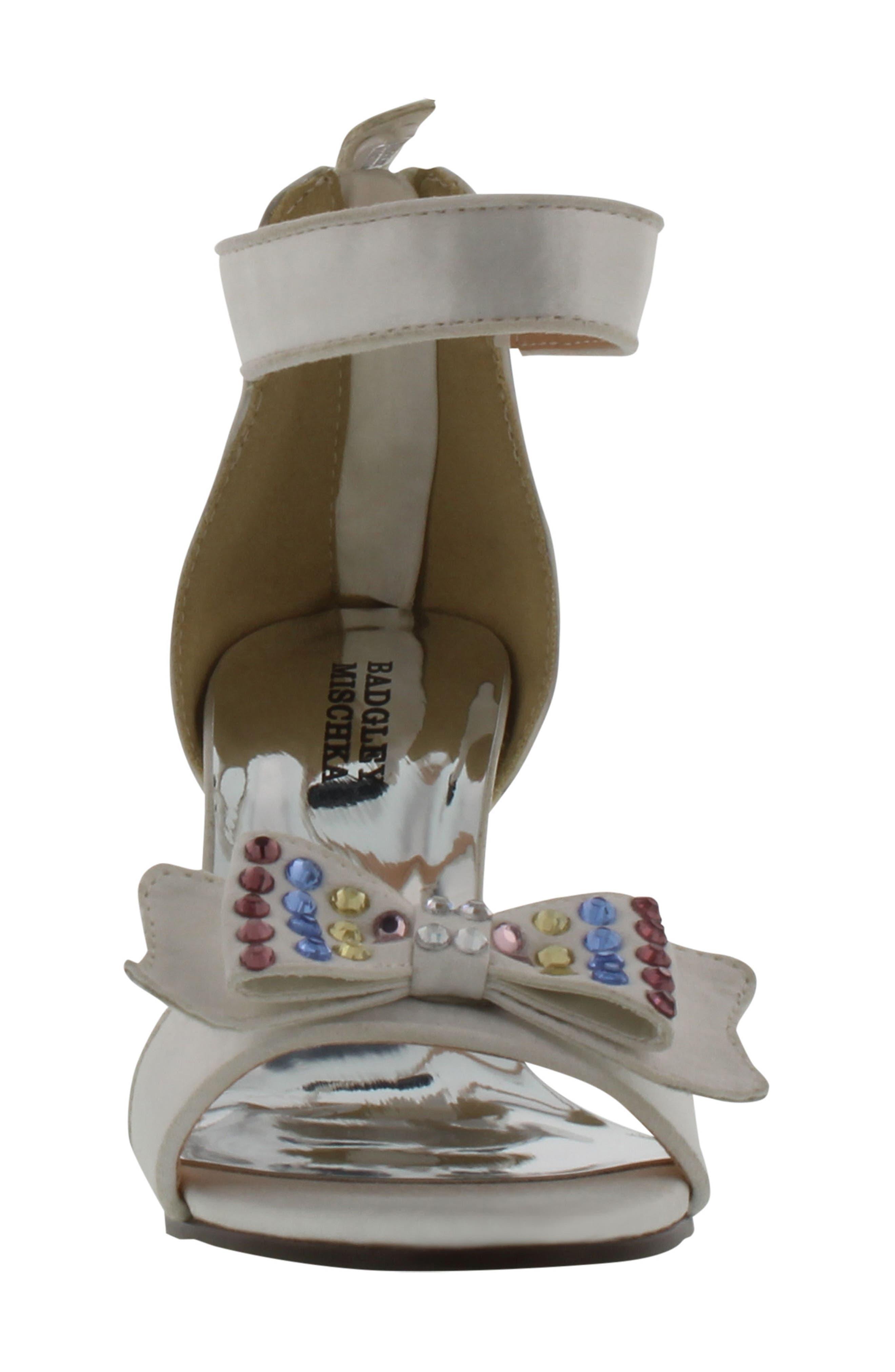 Kendall Embellished Bow Sandal,                             Alternate thumbnail 4, color,                             White Multi